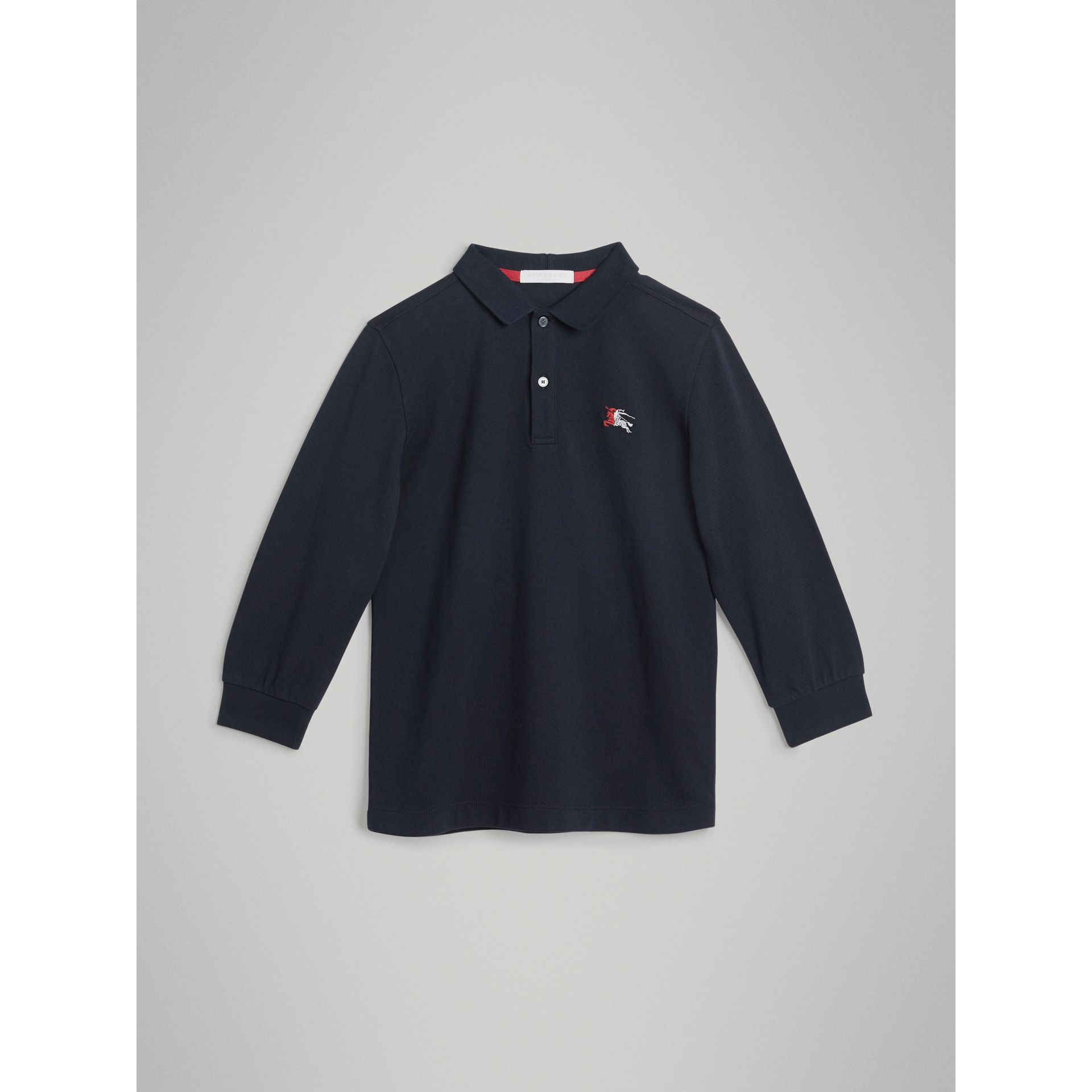 Long-sleeve Cotton Piqué Polo Shirt in Navy - Boy | Burberry United Kingdom - gallery image 0