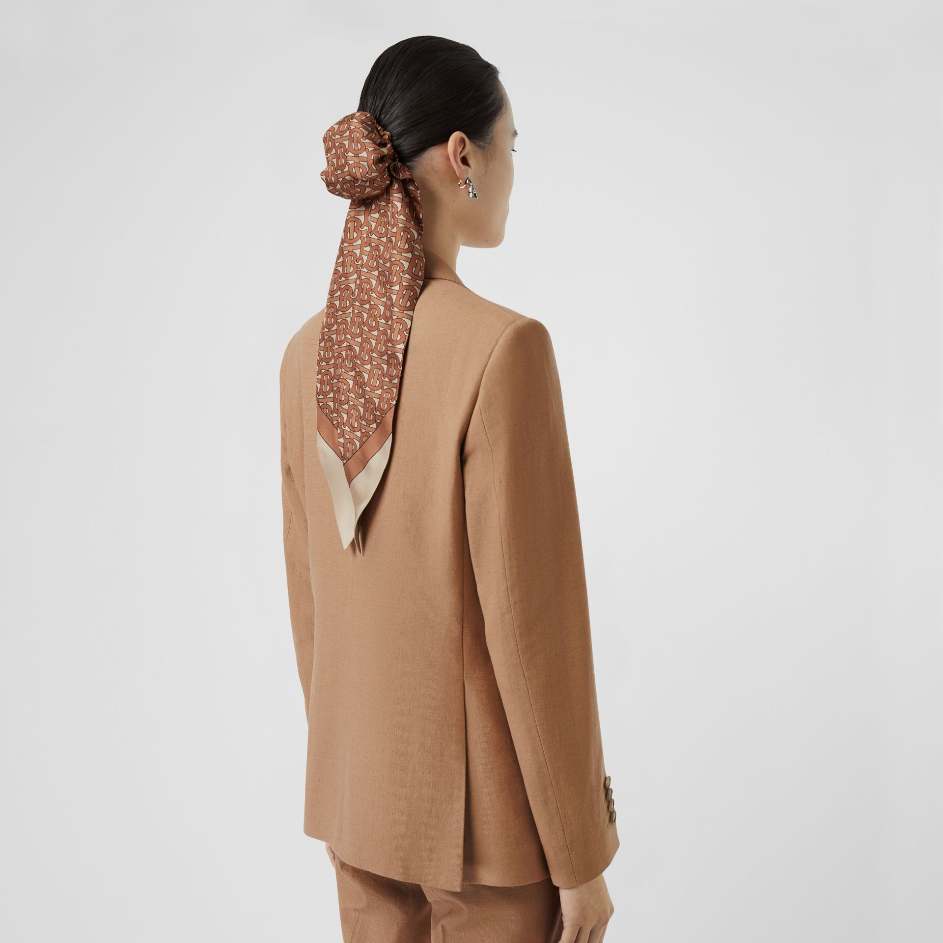 Vest Detail Cotton Linen Tailored Jacket in Ceramic Brown - Women | Burberry United States - gallery image 2