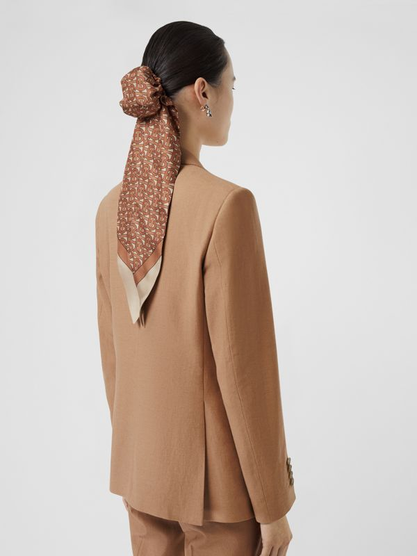 Vest Detail Cotton Linen Tailored Jacket in Ceramic Brown - Women | Burberry - cell image 2