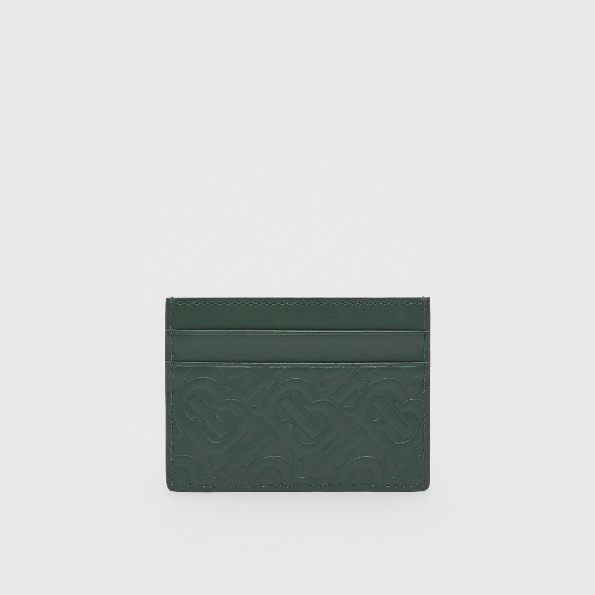Monogram Leather Card Case in Dark Pine Green - Men   Burberry United Kingdom - gallery image 4
