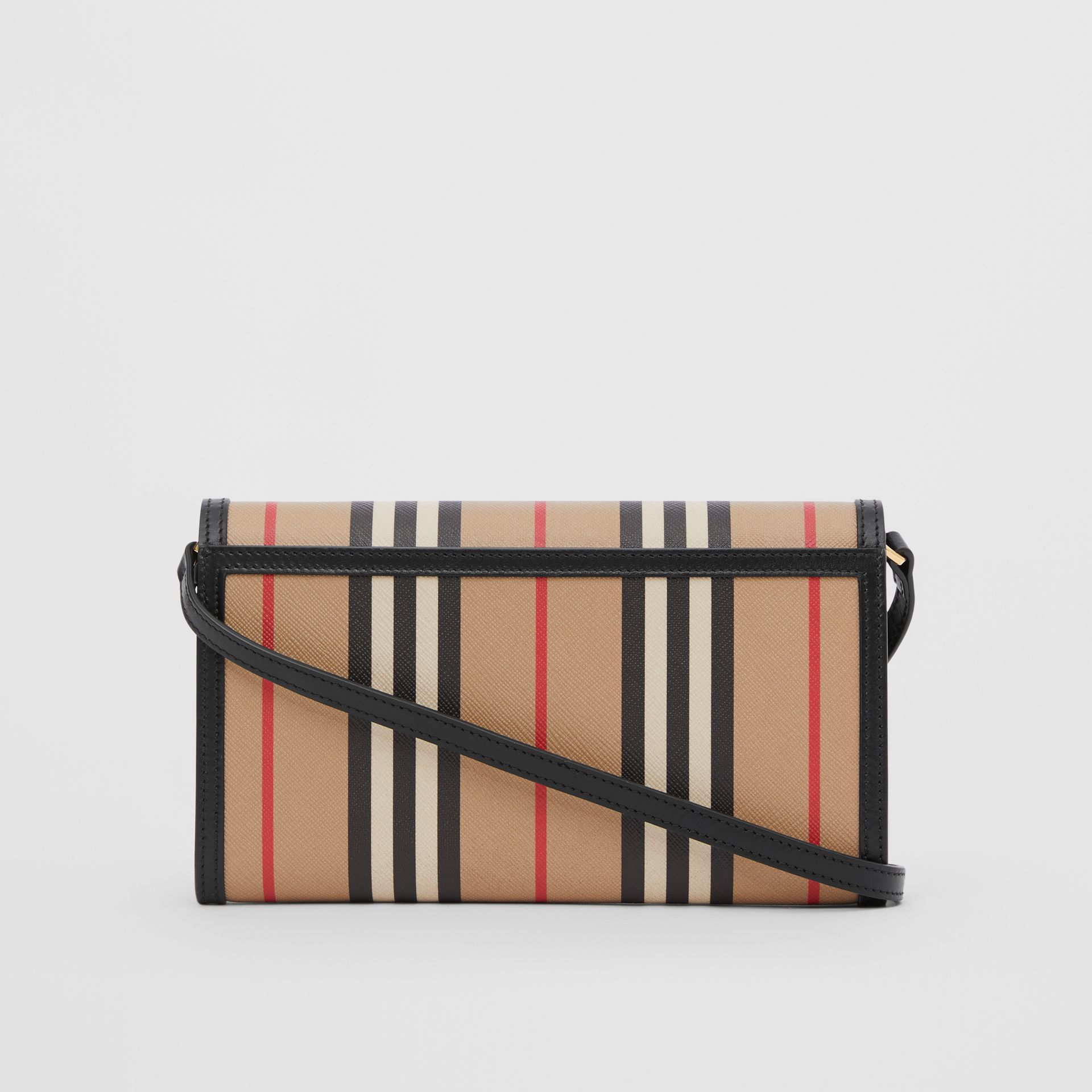 Icon Stripe E-canvas Wallet with Detachable Strap in Archive Beige - Women | Burberry - gallery image 7