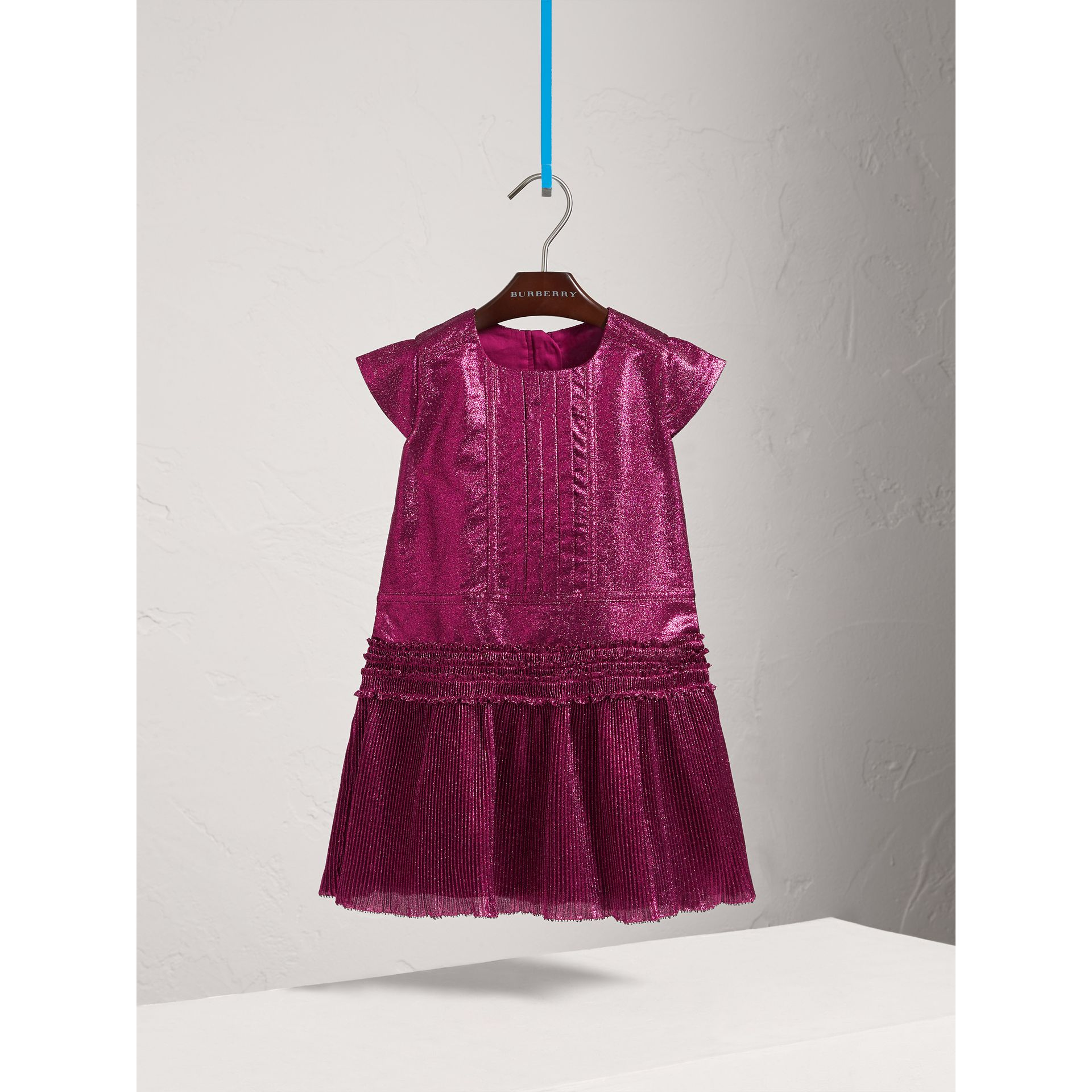 Frill Detail Lamé Dress in Bright Fuchsia - Girl | Burberry - gallery image 3