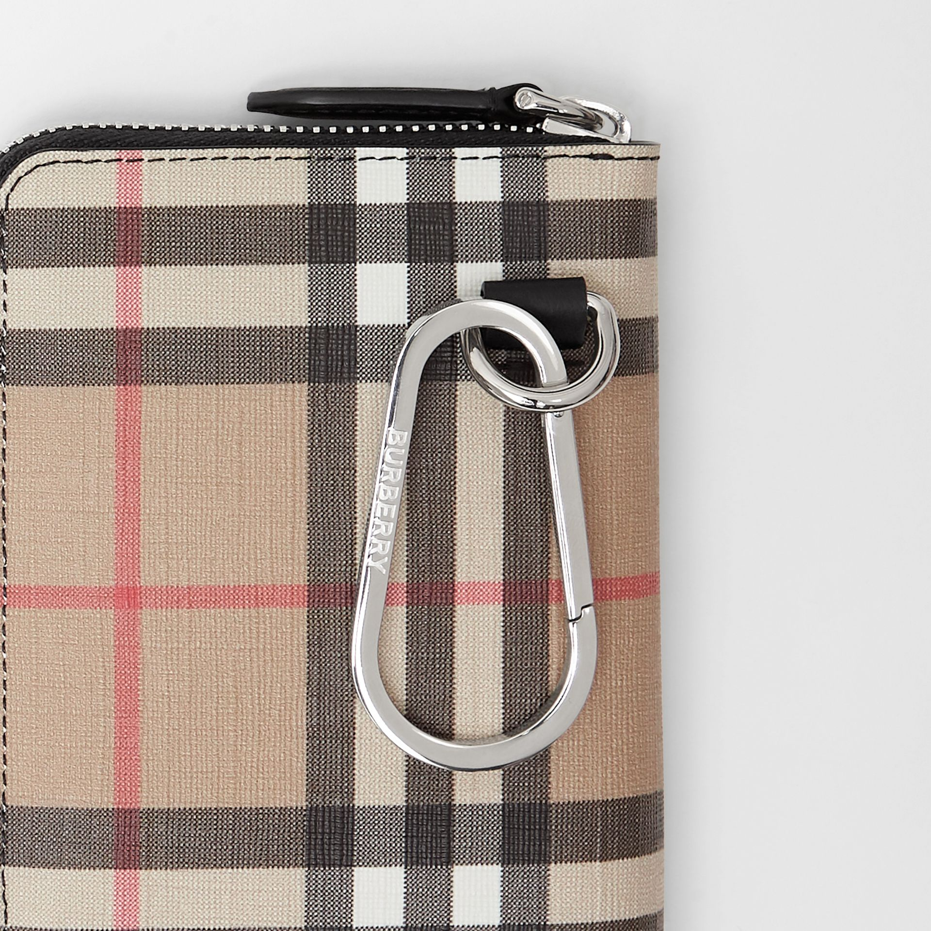 Vintage Check E-canvas Ziparound Wallet in Black - Women | Burberry - gallery image 1