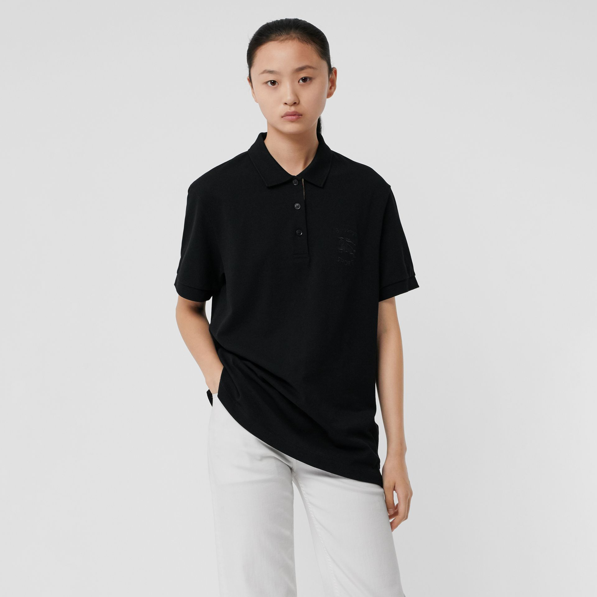 Check Placket Cotton Piqué Polo Shirt in Black - Women | Burberry - gallery image 0