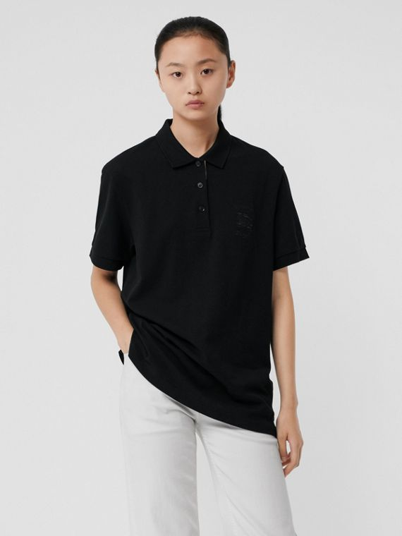Check Placket Cotton Piqué Polo Shirt in Black