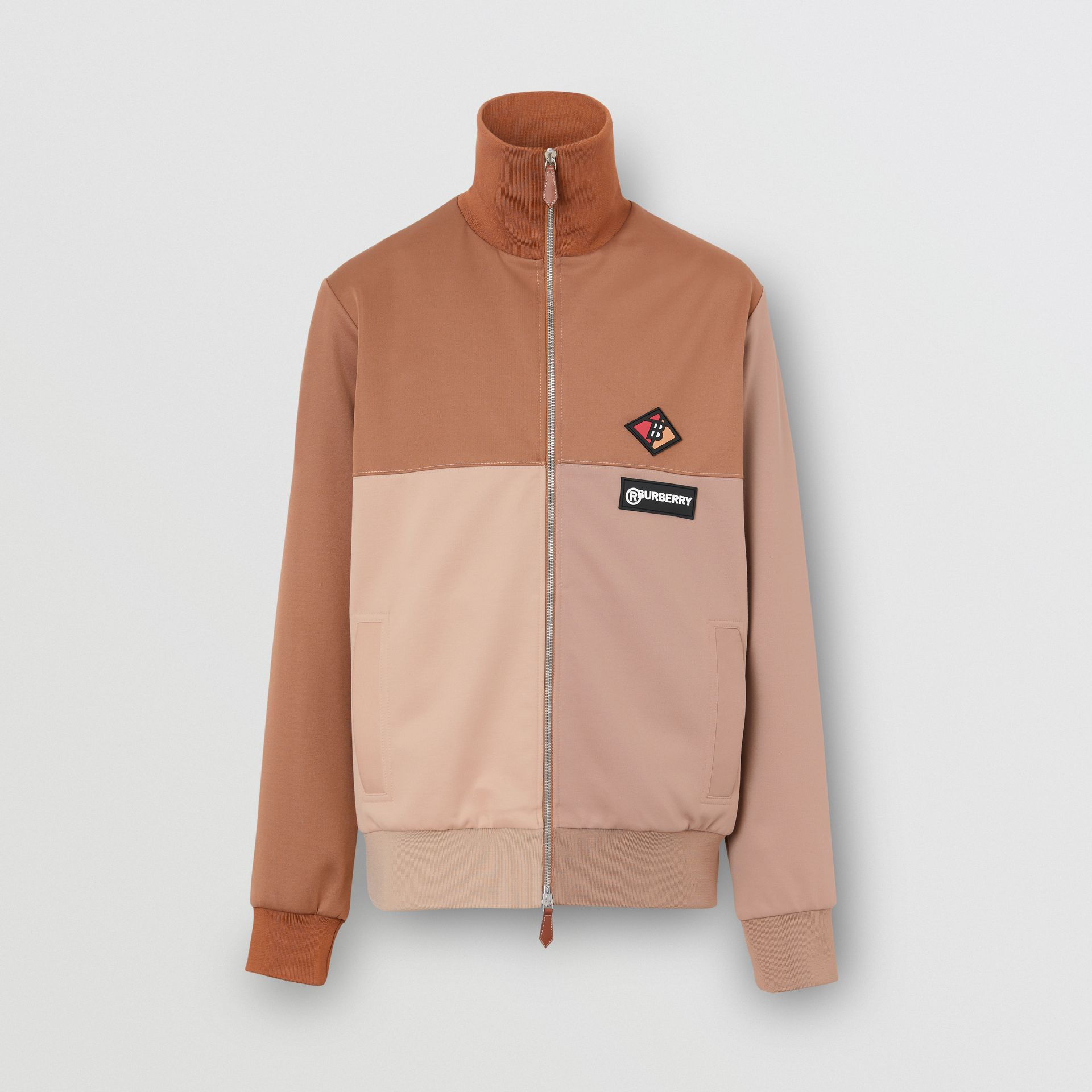 Logo Graphic Colour Block Neoprene Track Top in Camel - Men | Burberry - gallery image 3