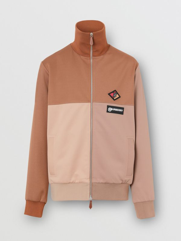Logo Graphic Colour Block Neoprene Track Top in Camel - Men | Burberry - cell image 3