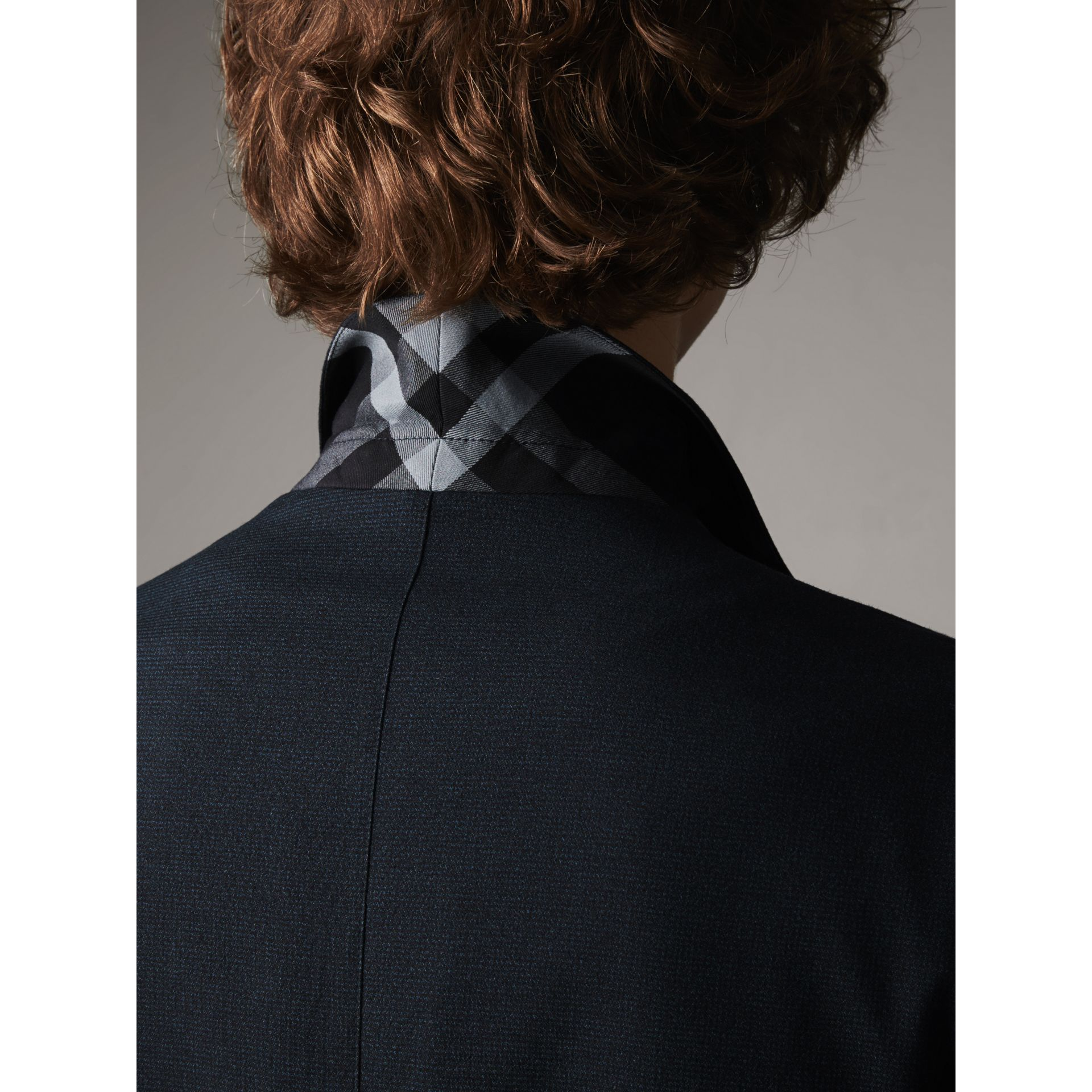 Micro Houndstooth Cotton Wool Blend Blazer in Navy - Men | Burberry - gallery image 5