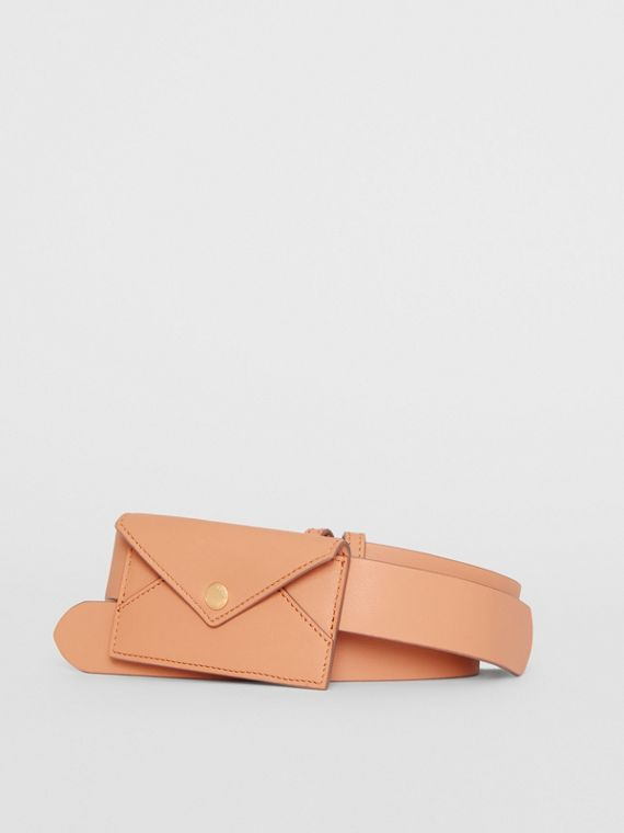 Envelope Detail Leather Belt in Pale Brick