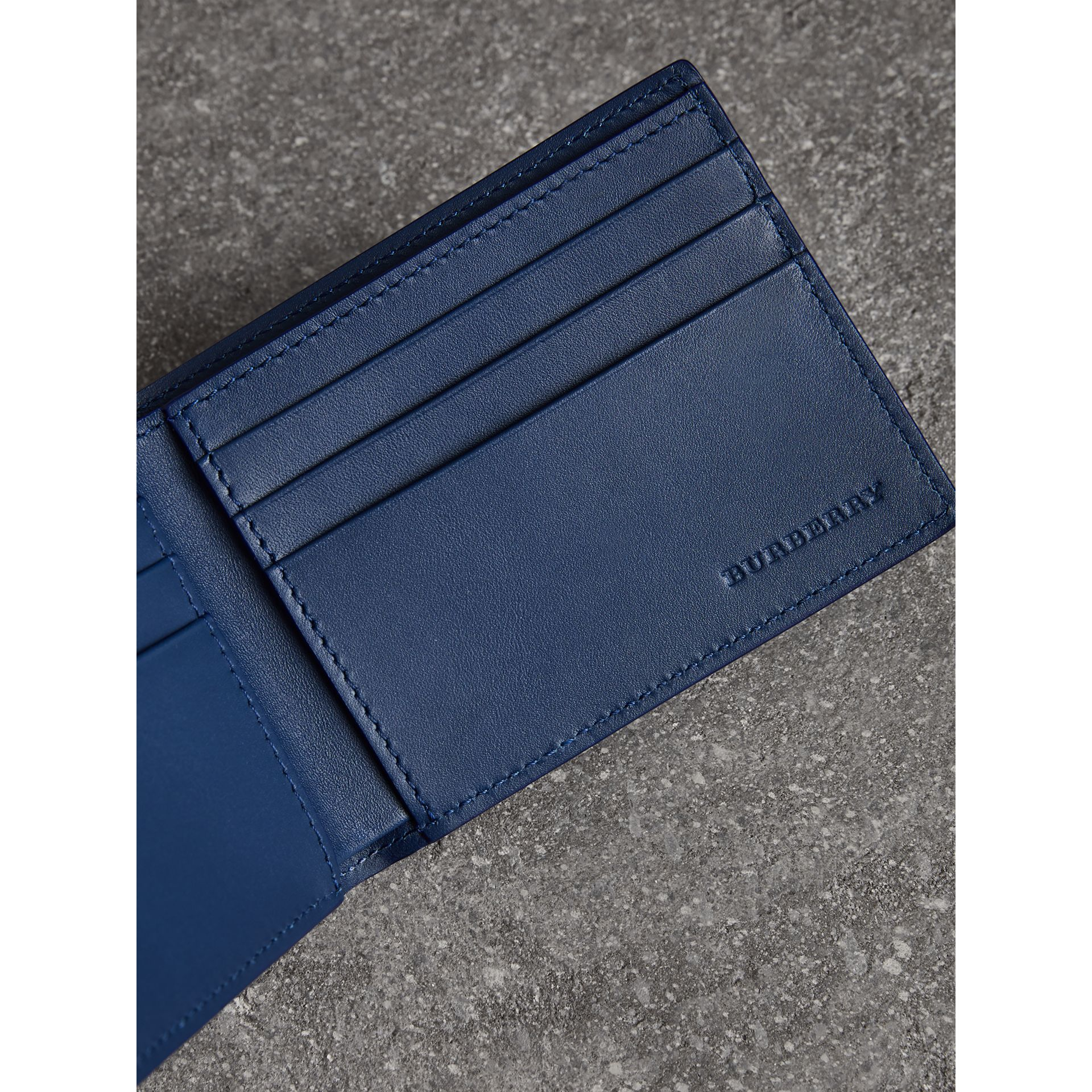 London Leather Bifold Wallet in Deep Blue - Men | Burberry - gallery image 3