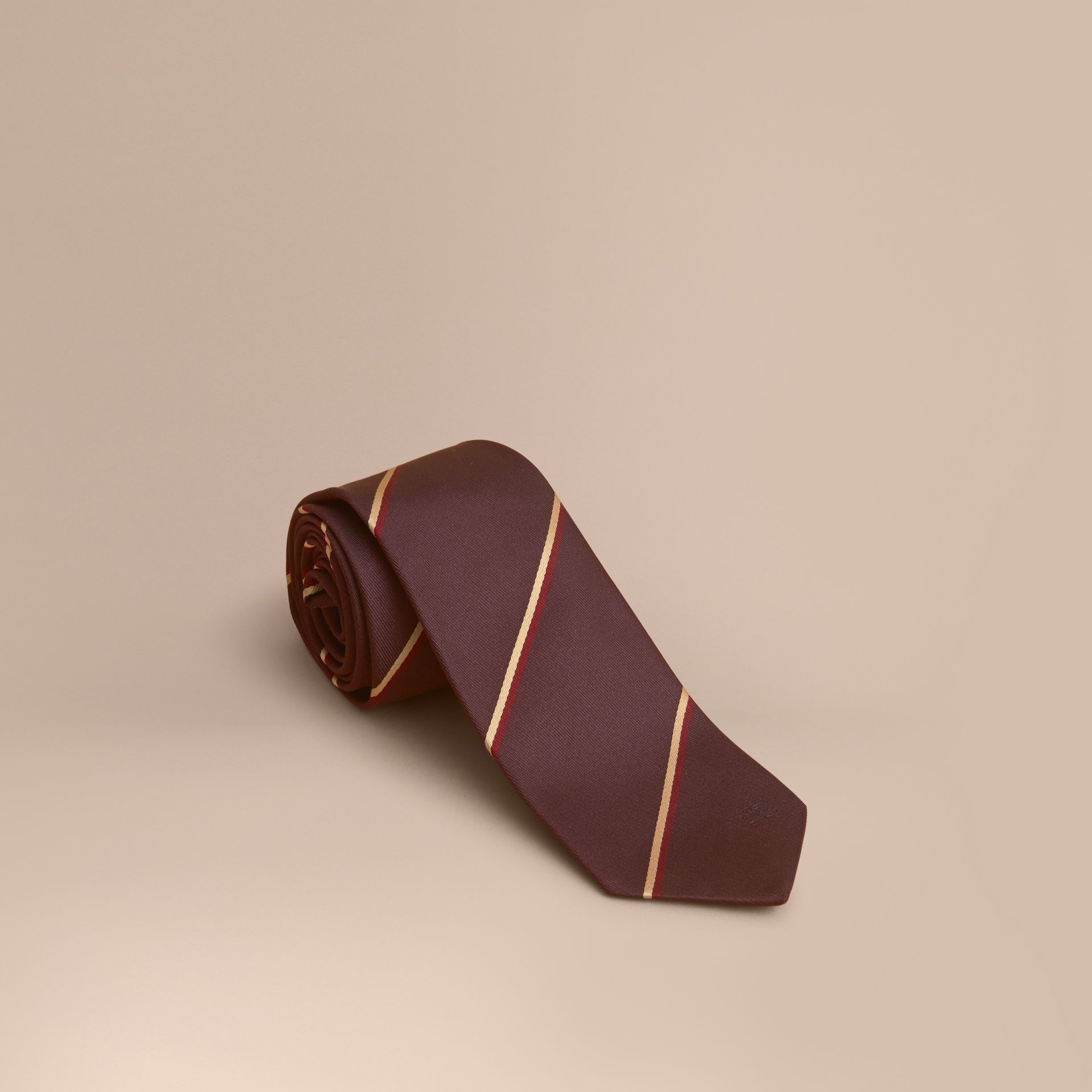 Slim Cut Striped Silk Tie in Deep Claret - gallery image 1