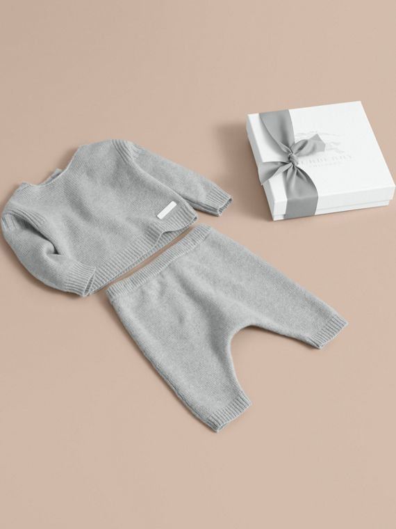 Cashmere Two-piece Baby Gift Set in Pale Mint | Burberry