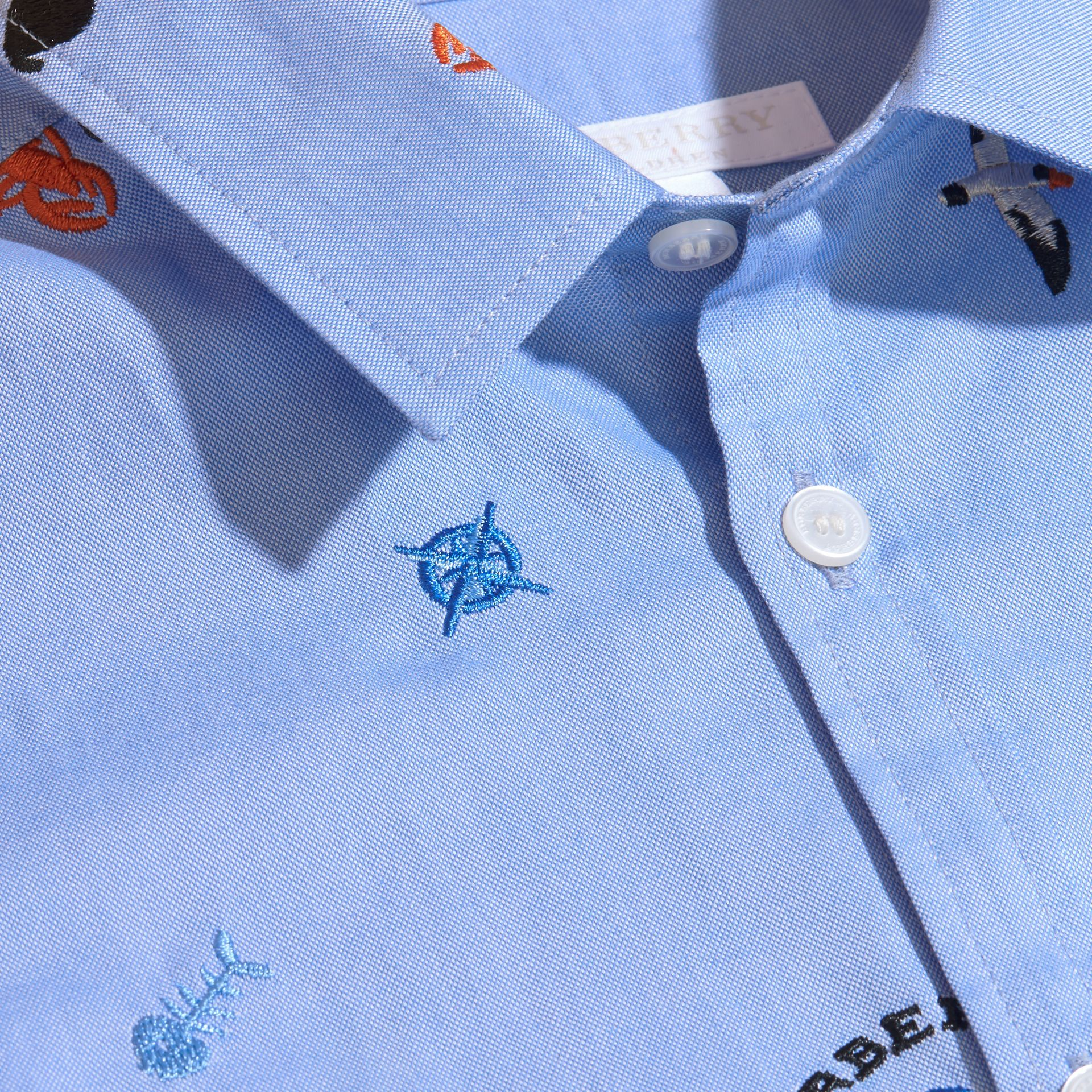 Embroidered Nautical Motif Cotton Oxford Shirt Cornflower Blue - gallery image 2
