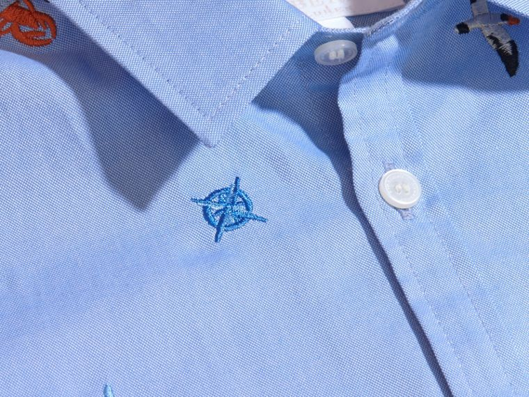 Embroidered Nautical Motif Cotton Oxford Shirt Cornflower Blue - cell image 1