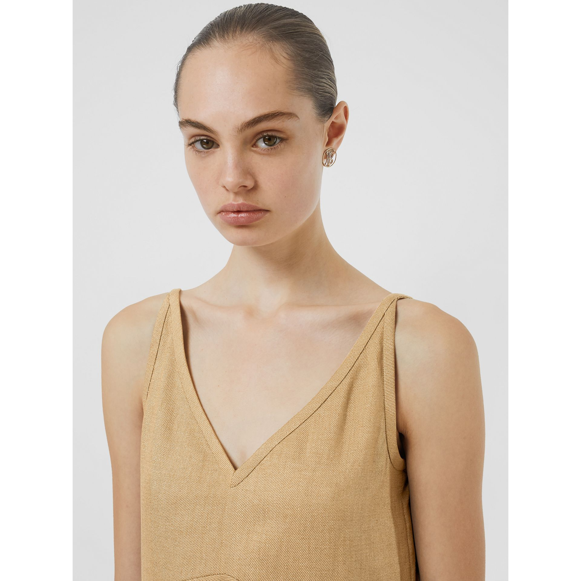 Linen Blend Bubble Hem Dress in Honey - Women | Burberry - gallery image 1