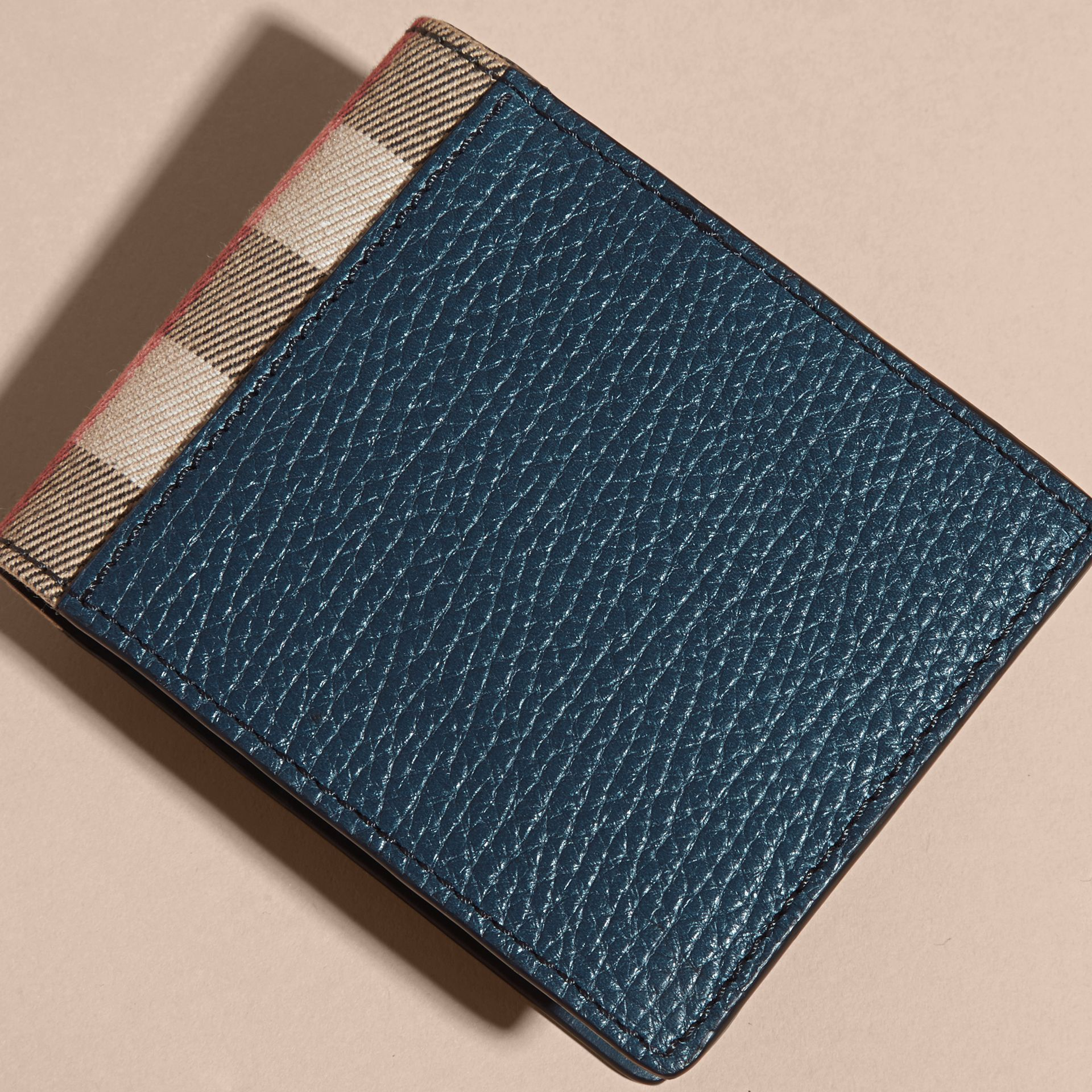Grainy Leather and House Check Folding Wallet Storm Blue - gallery image 3