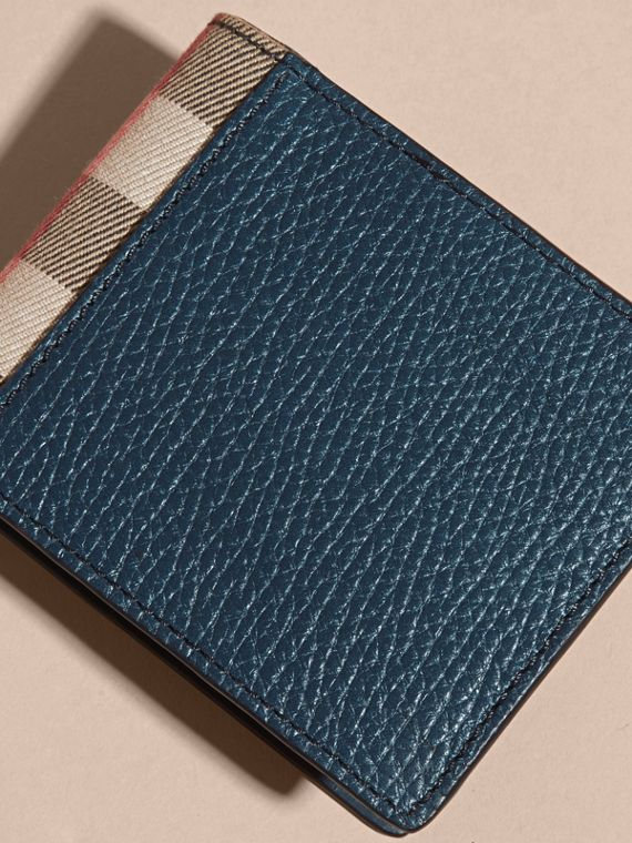 Grainy Leather and House Check Bifold Wallet in Storm Blue - cell image 2
