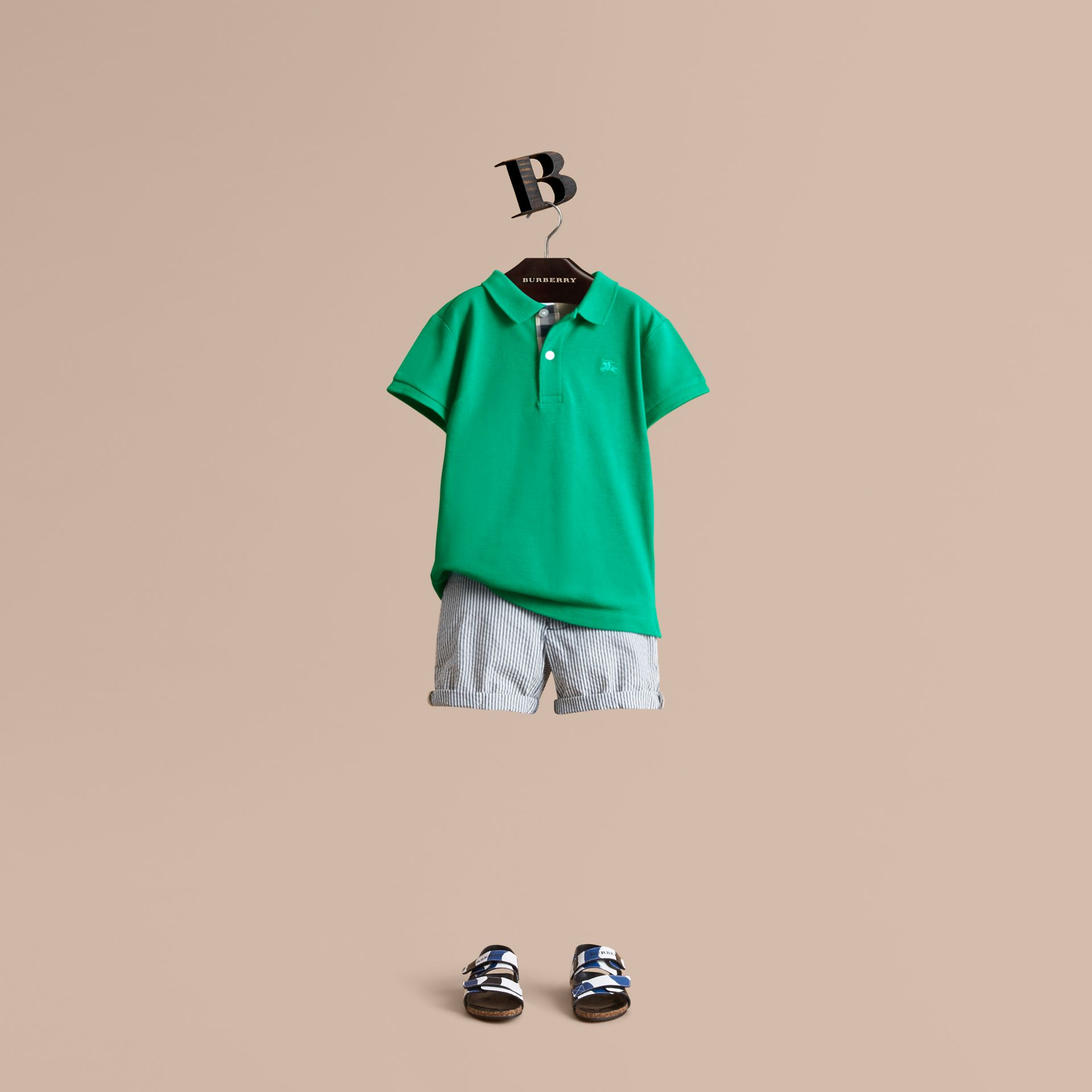 Check Placket Polo Shirt in Bright Green - Boy | Burberry - gallery image 1
