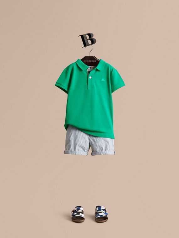 Check Placket Polo Shirt in Bright Green