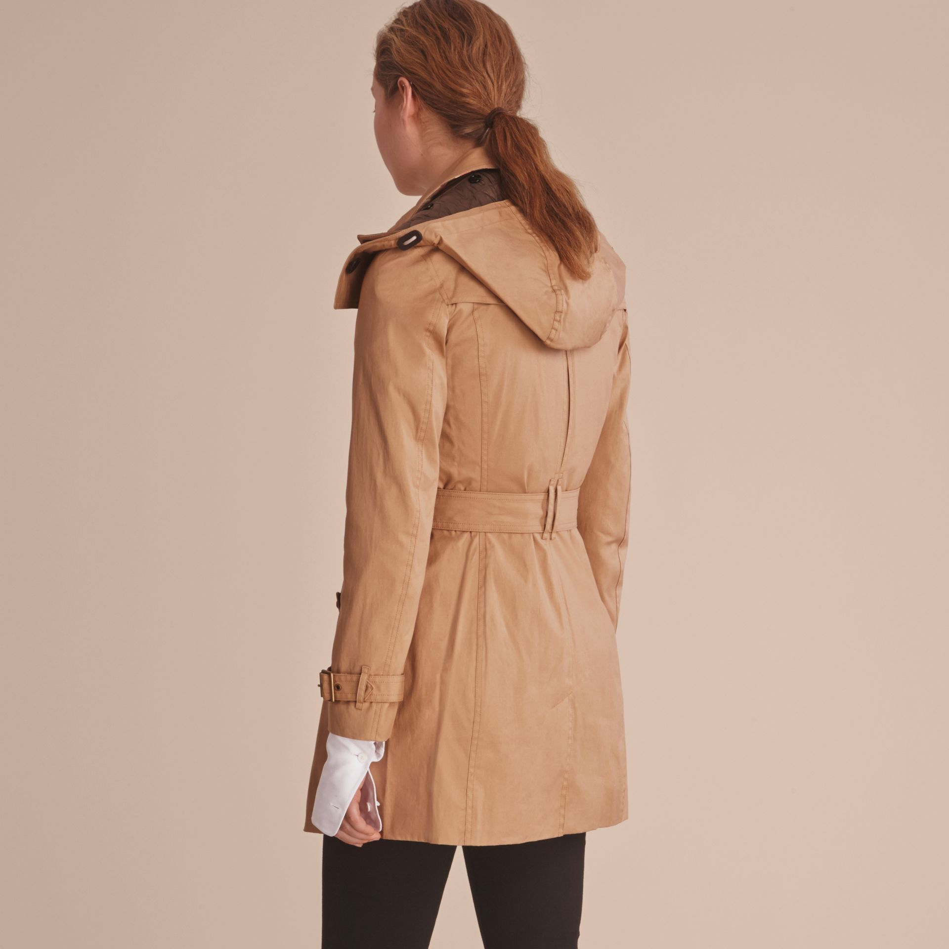 Hooded Trench Coat with Warmer in Light Camel - gallery image 3