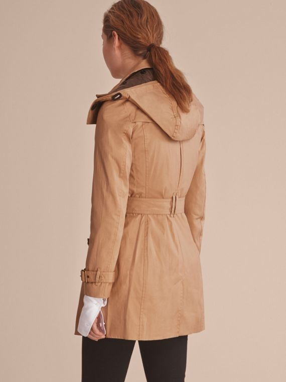 Hooded Trench Coat with Warmer in Light Camel - cell image 2