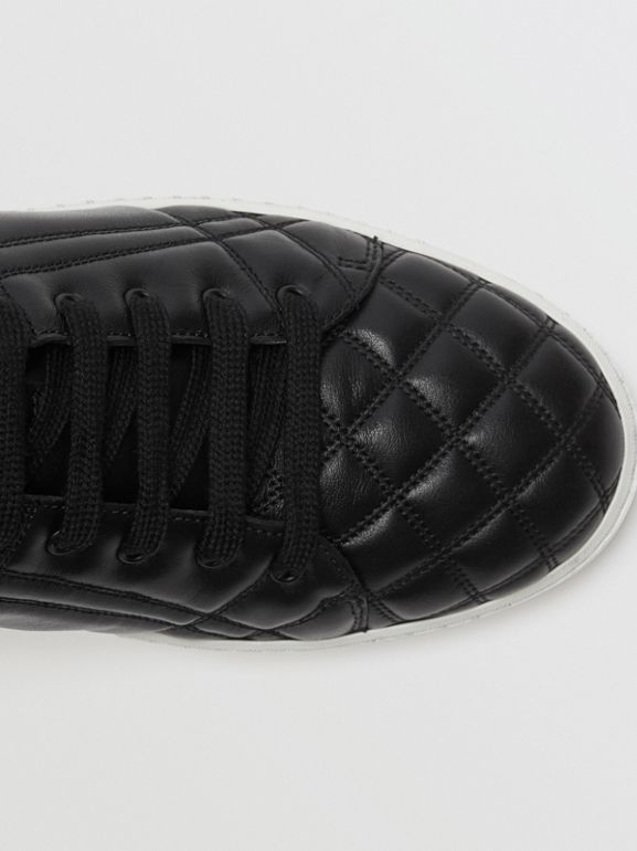 Check-quilted Leather High-top Sneakers in Black - Women | Burberry United Kingdom - cell image 1