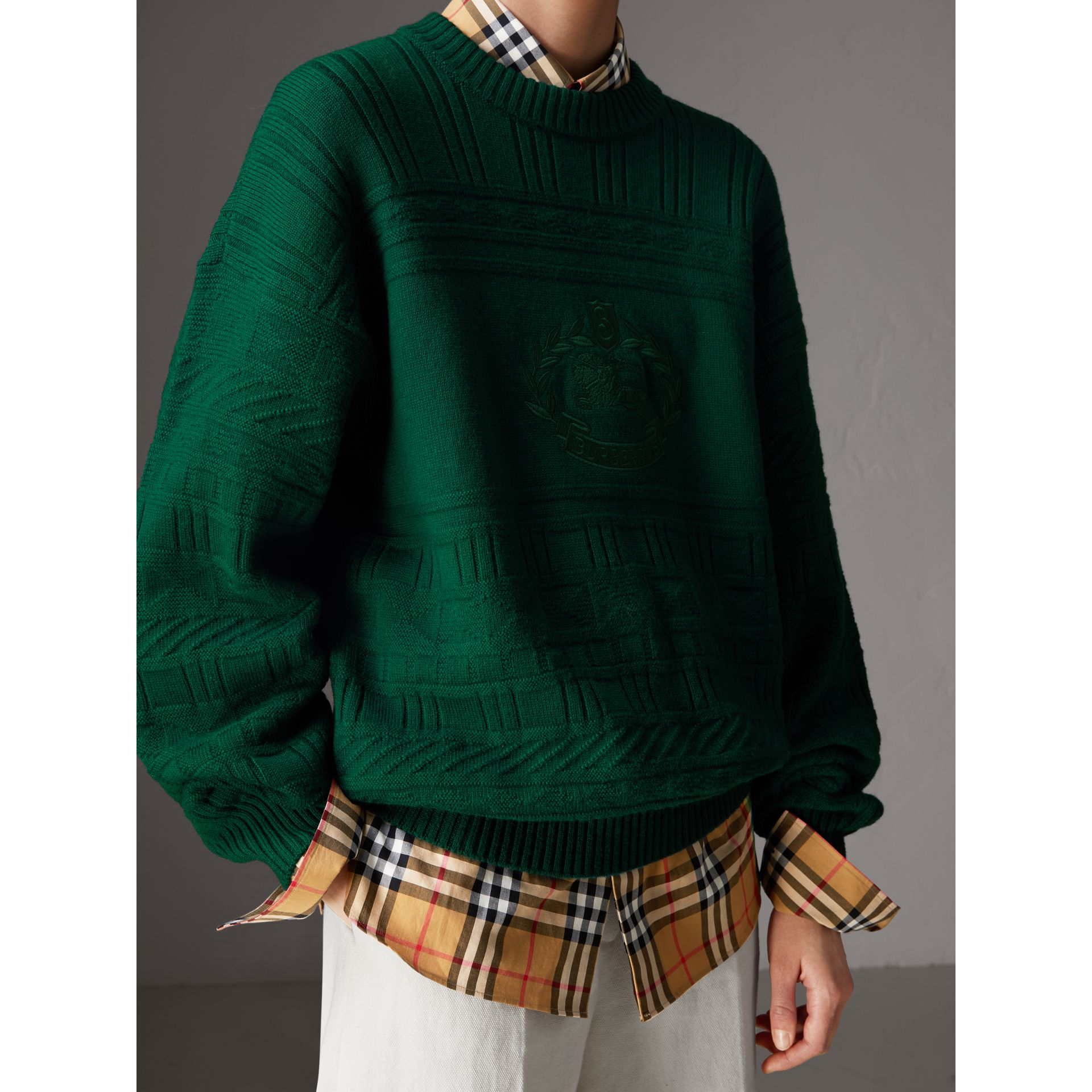 Reissued Wool Sweater in Dark Green - Women | Burberry - gallery image 1