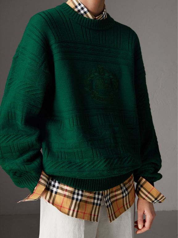 Reissued Wool Sweater in Dark Green - Women | Burberry Canada - cell image 1