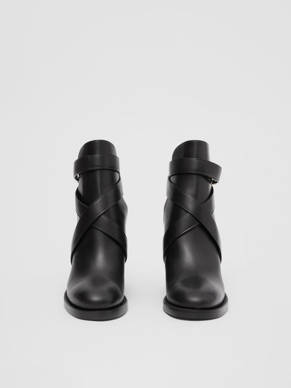 Monogram Motif Leather Ankle Boots in Black - Women | Burberry United Kingdom - cell image 2