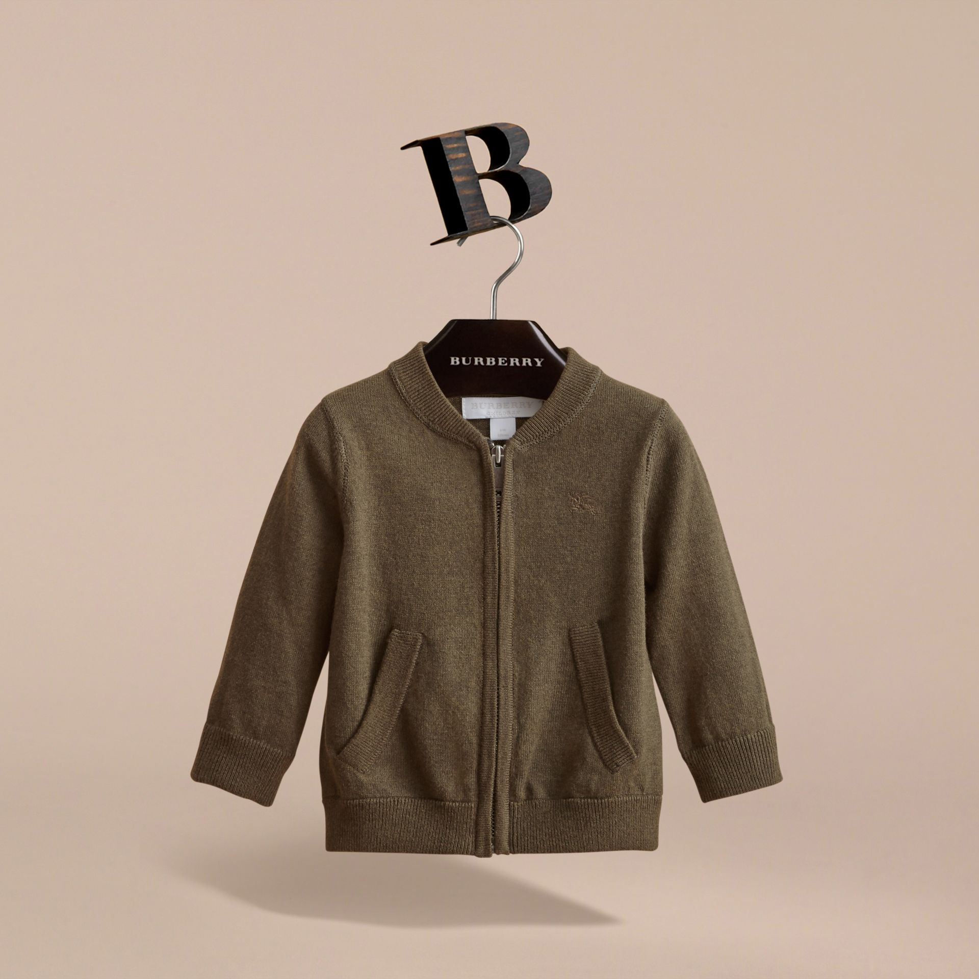 Check Detail Cotton Zip-front Cardigan in Olive Melange - Children | Burberry - gallery image 3