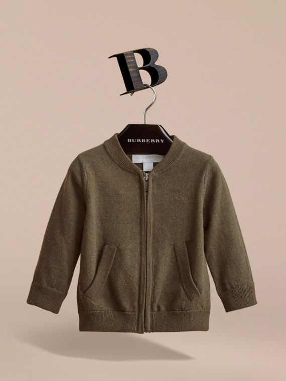 Check Detail Cotton Zip-front Cardigan in Olive Melange - Children | Burberry - cell image 2