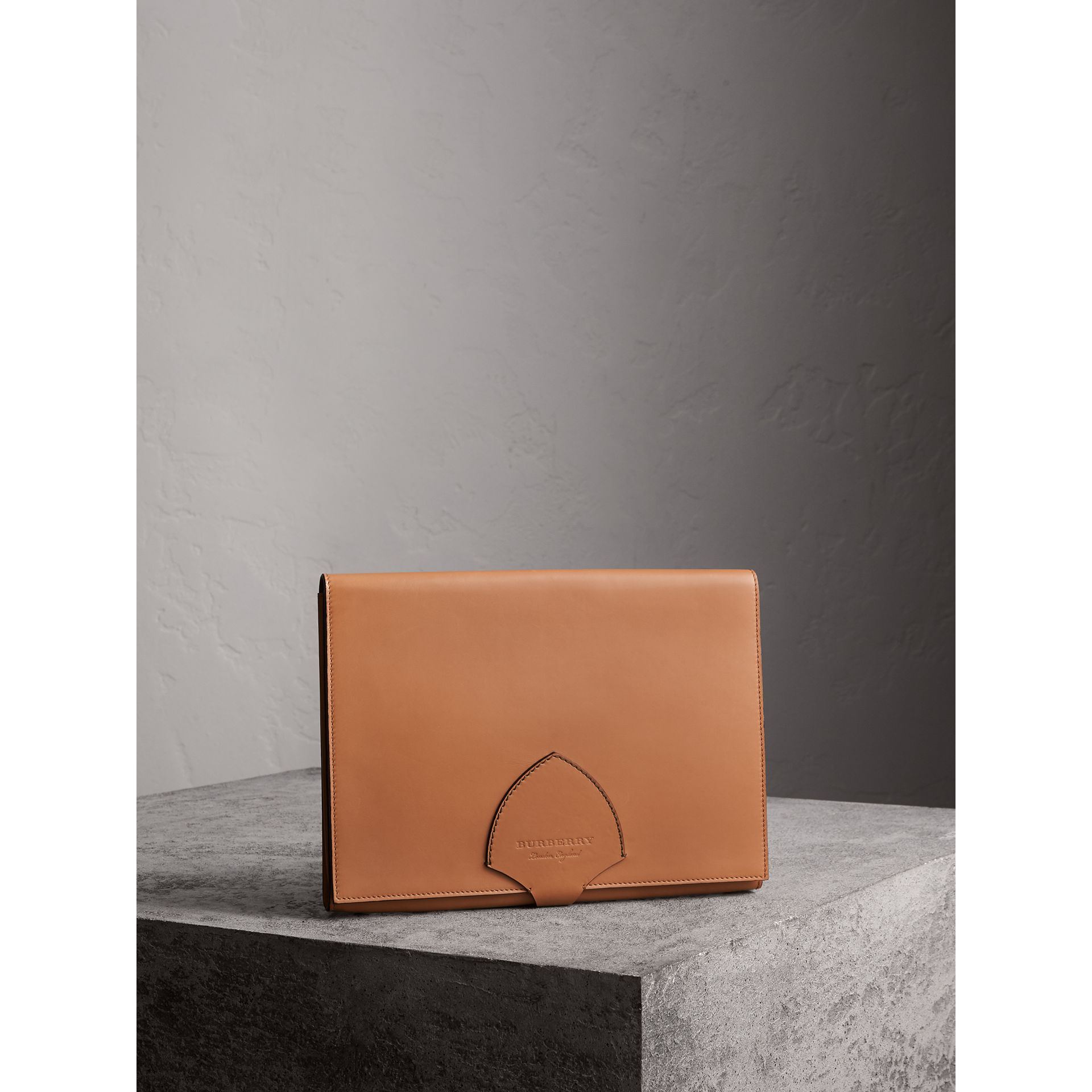 Equestrian Shield Two-tone Leather A4 Document Case in Camel - Men | Burberry Singapore - gallery image 4