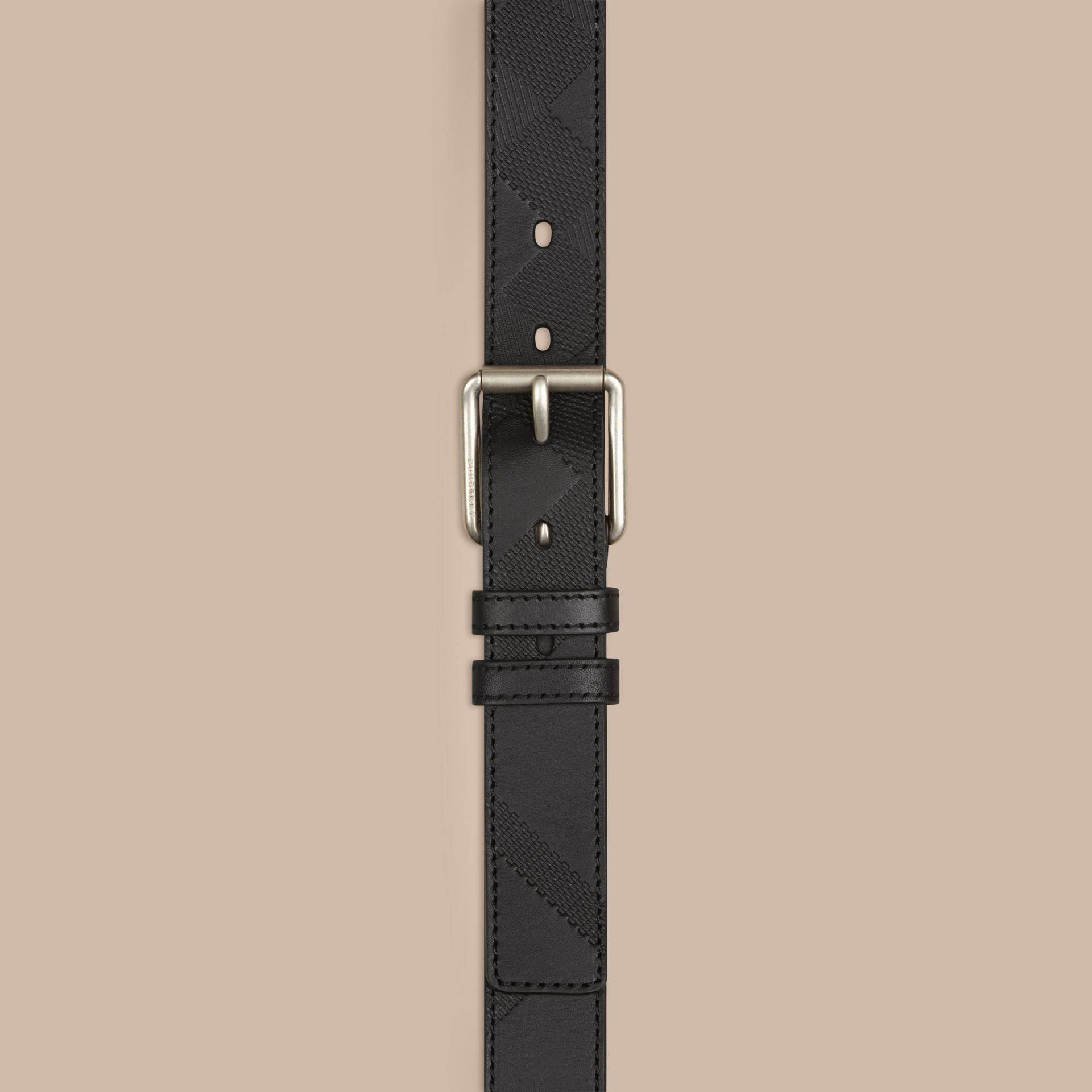 Black Check-Embossed Leather Belt Black - gallery image 2