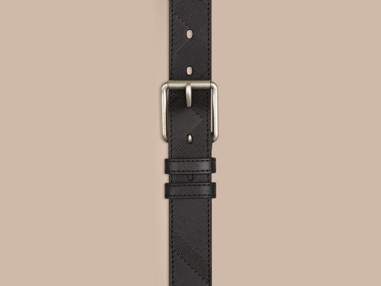 Black Check-Embossed Leather Belt Black - cell image 1