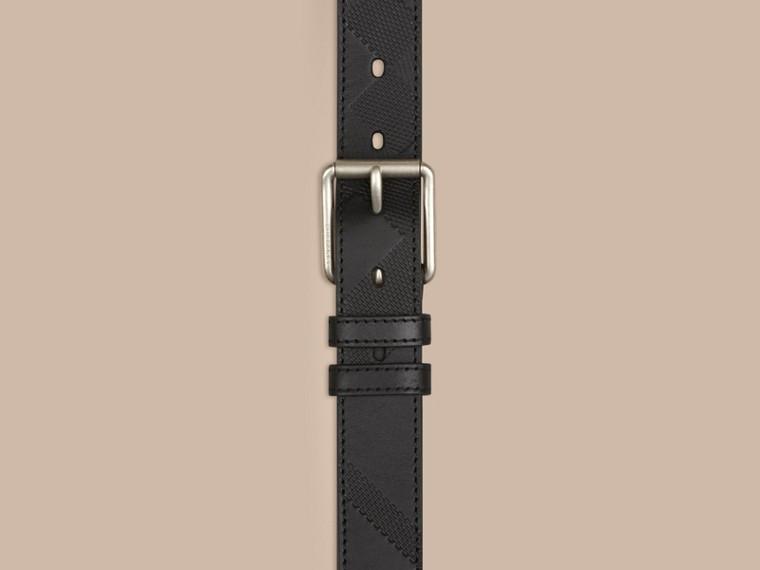 Schwarz Gürtel aus Leder mit Check-Prägung Schwarz - cell image 1