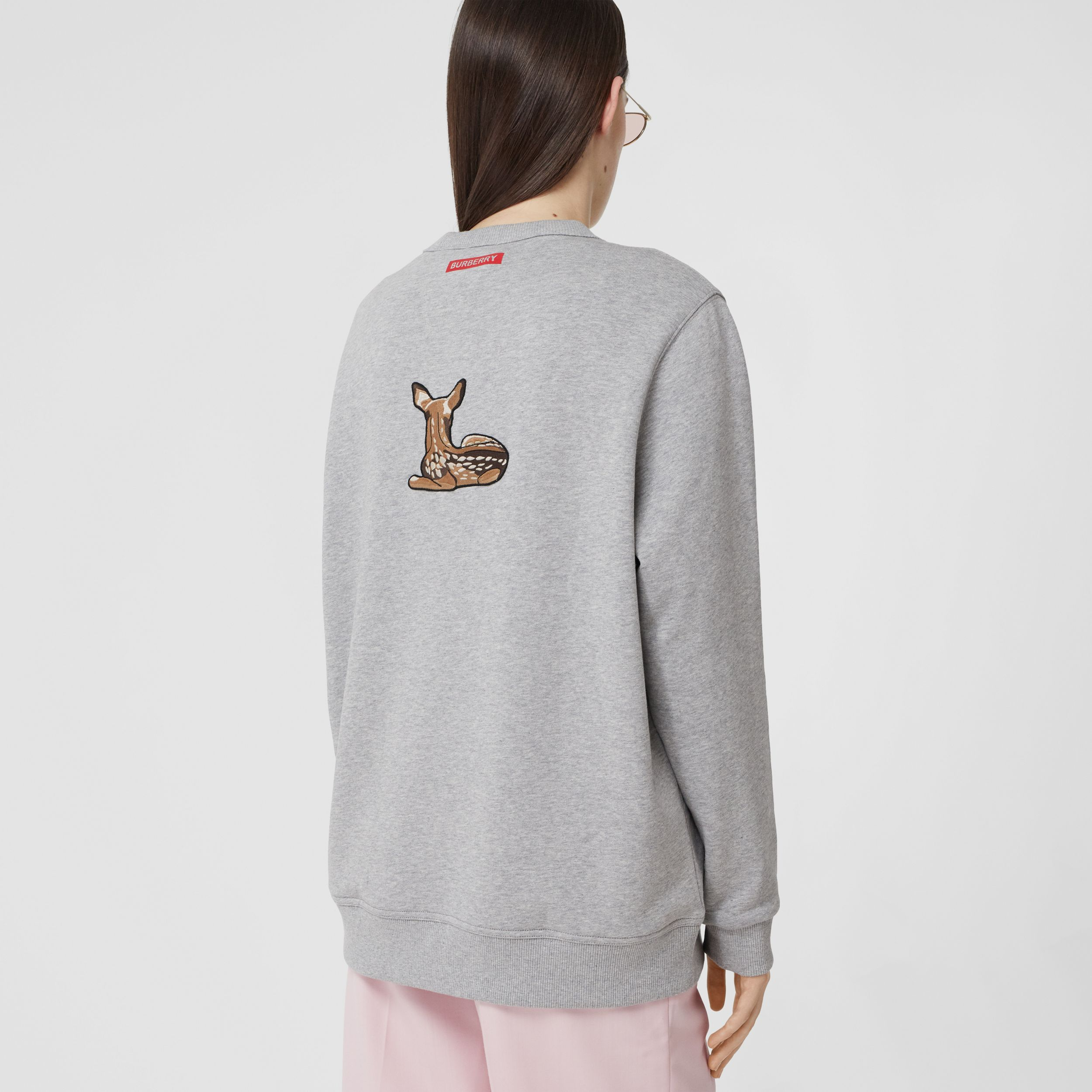 Deer Motif Cotton Oversized Sweatshirt in Pale Grey Melange - Women | Burberry United Kingdom - 3