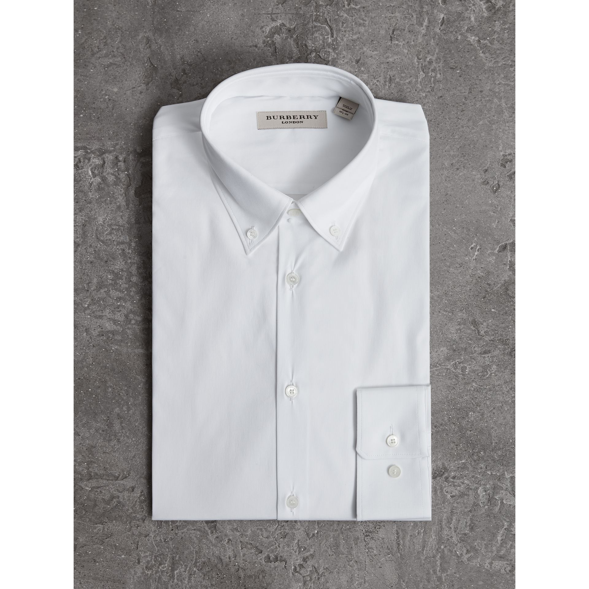 Slim Fit Button-down Collar Stretch-cotton Shirt in White - Men | Burberry - gallery image 3