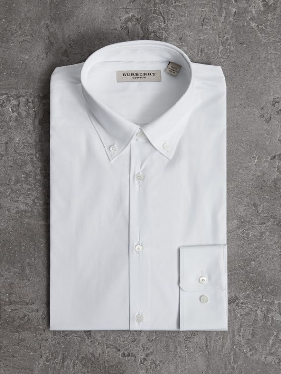 Slim Fit Button-down Collar Stretch-cotton Shirt in White - Men | Burberry Australia - cell image 3