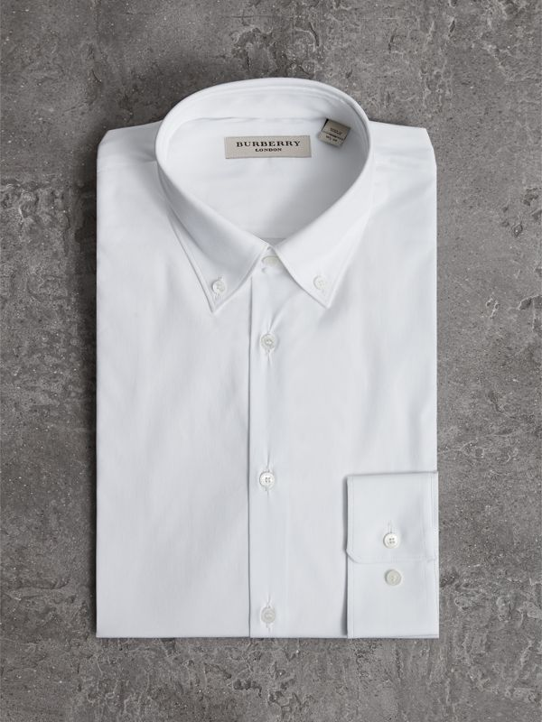Slim Fit Button-down Collar Stretch-cotton Shirt in White - Men | Burberry United Kingdom - cell image 3