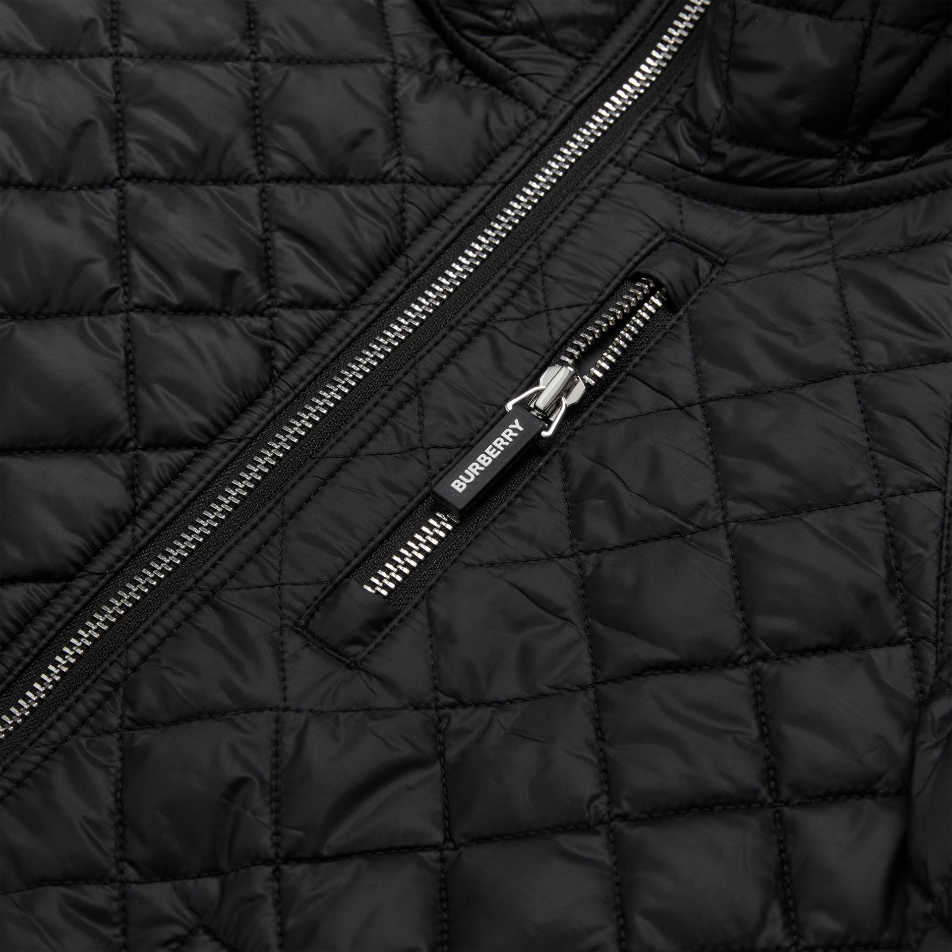 Diamond Quilted Hooded Coat in Black | Burberry United States - gallery image 1
