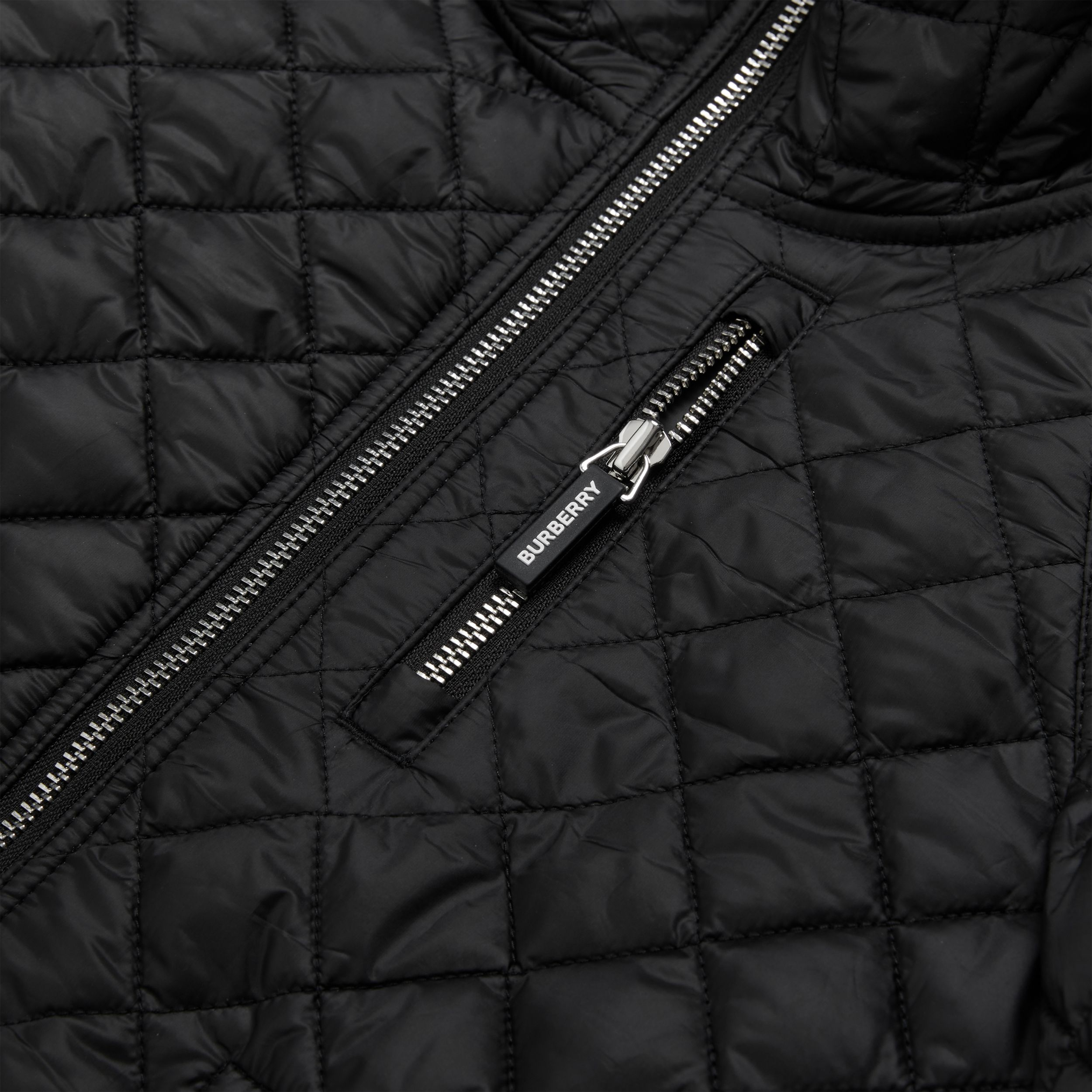 Diamond Quilted Hooded Coat in Black | Burberry - 2