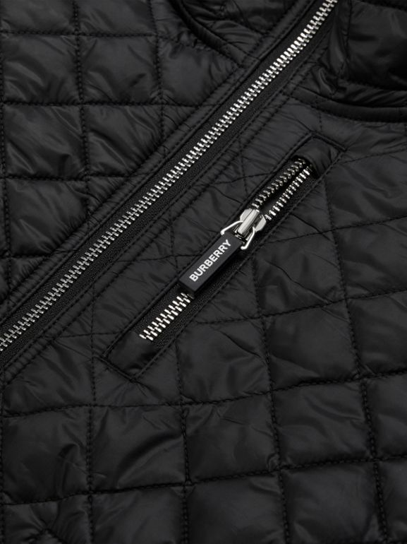 Diamond Quilted Hooded Coat in Black | Burberry - cell image 1