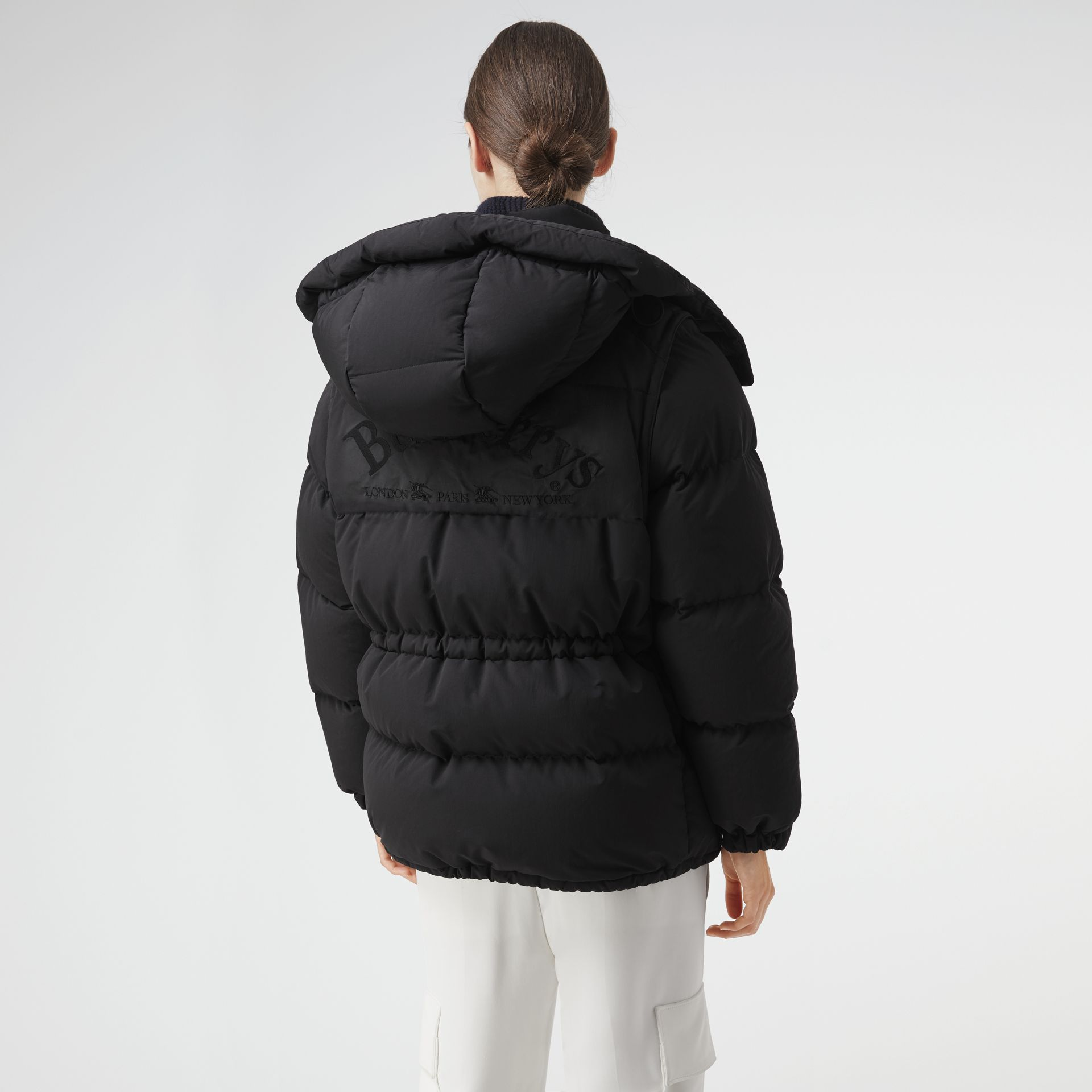Detachable Hood and Sleeve Down-filled Puffer Jacket in Black - Women | Burberry - gallery image 2