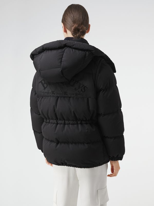 Detachable Hood and Sleeve Down-filled Puffer Jacket in Black - Women | Burberry - cell image 2