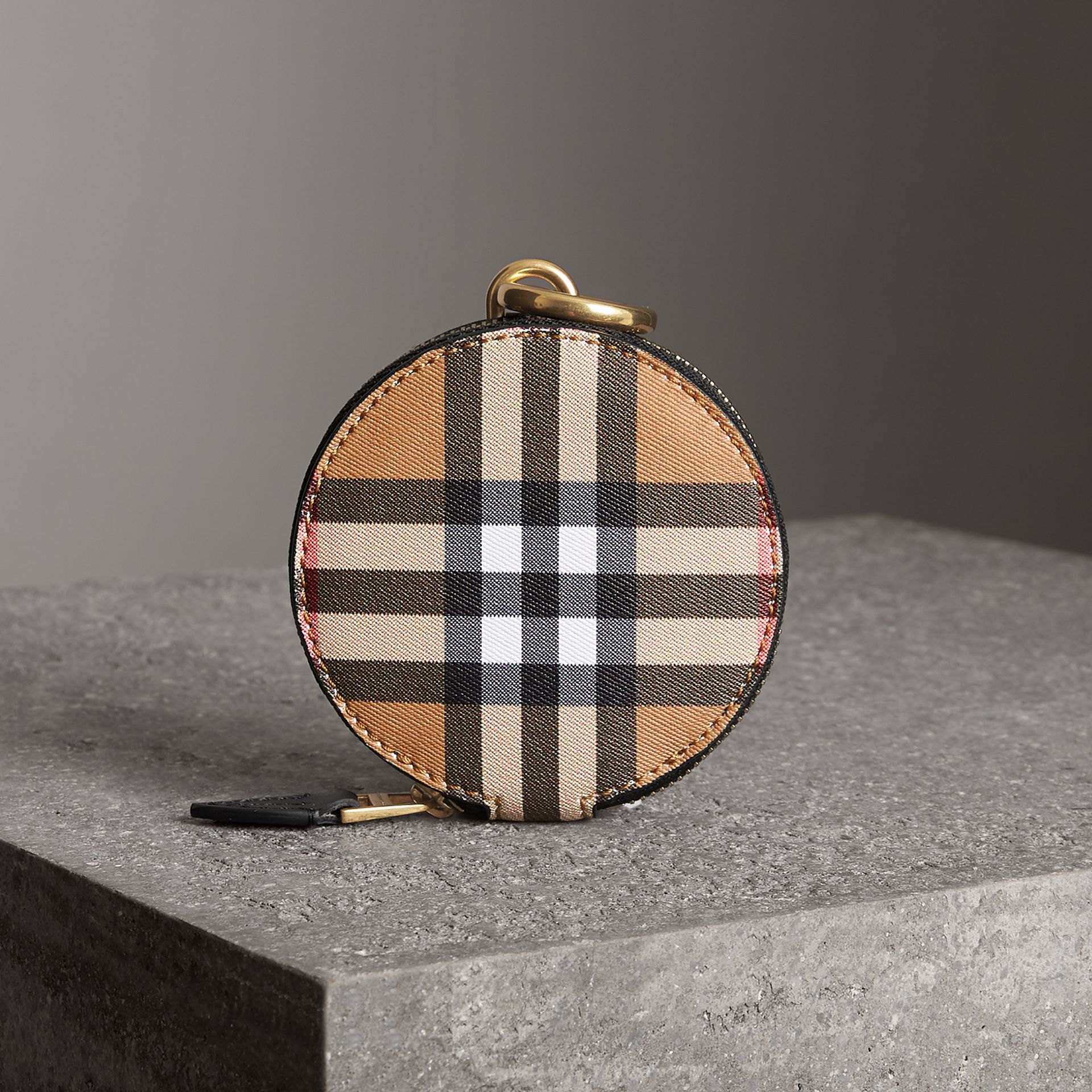 Vintage Check and Leather Coin Case in Black - Women | Burberry - gallery image 0