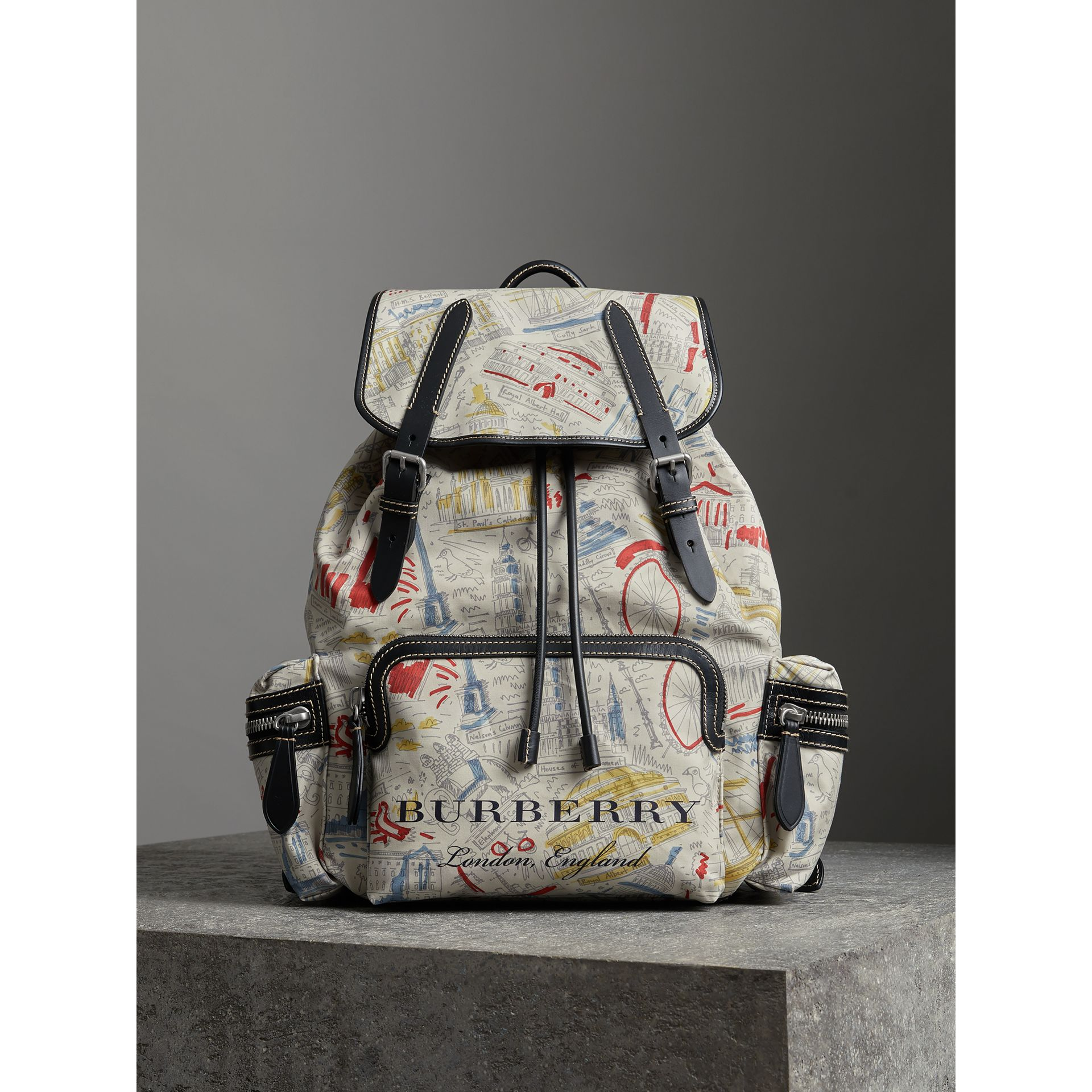 The Large Rucksack in London Print Canvas and Leather in Multicolour - Men | Burberry - gallery image 6