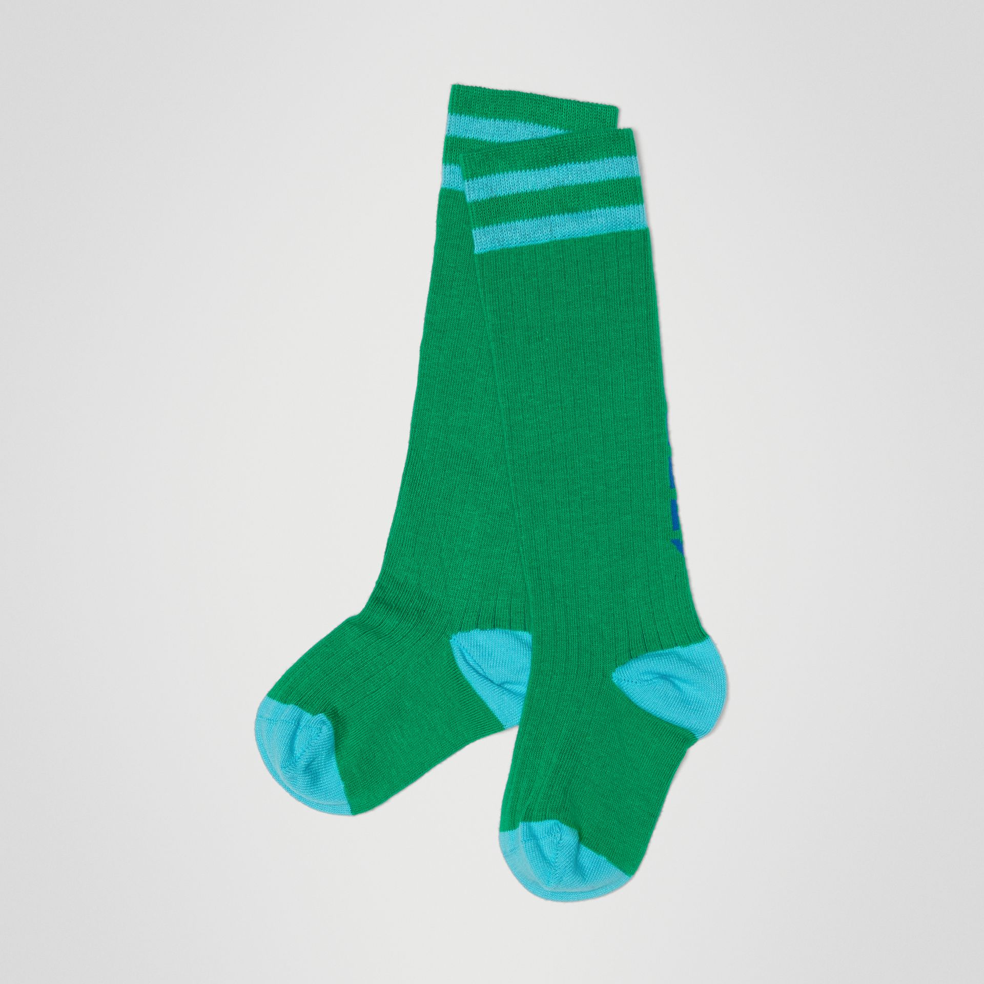 Logo Striped Cotton Blend Socks in Grass Green - Children | Burberry United States - gallery image 0