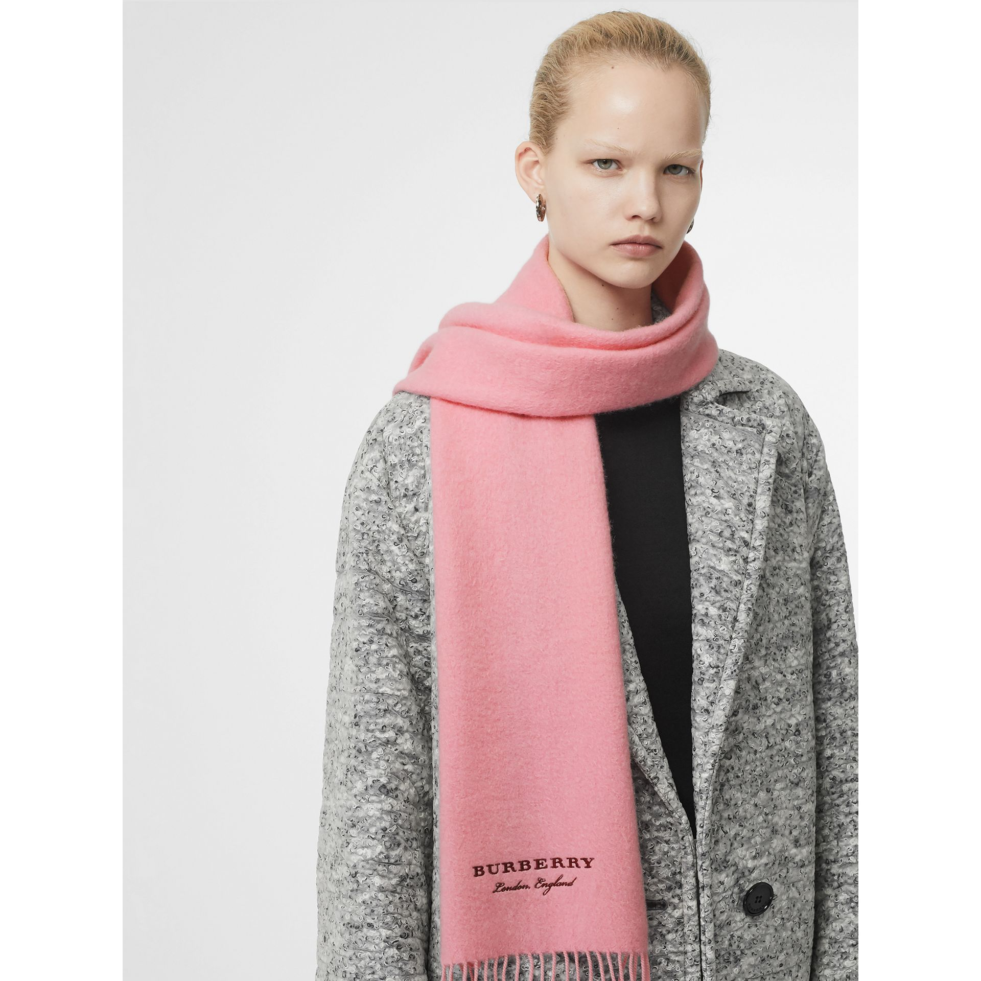 Embroidered Cashmere Fleece Scarf in Pale Rose | Burberry - gallery image 6