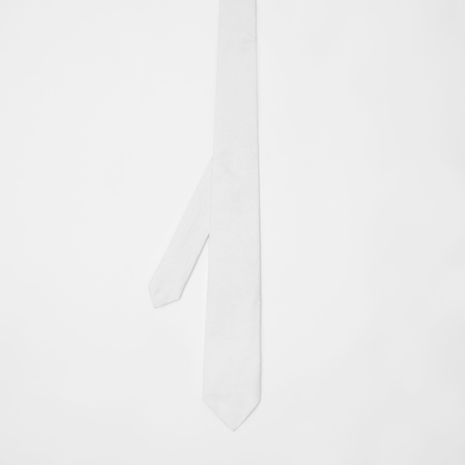 Classic Cut Monogram Silk Jacquard Tie in White - Men | Burberry Canada - gallery image 4