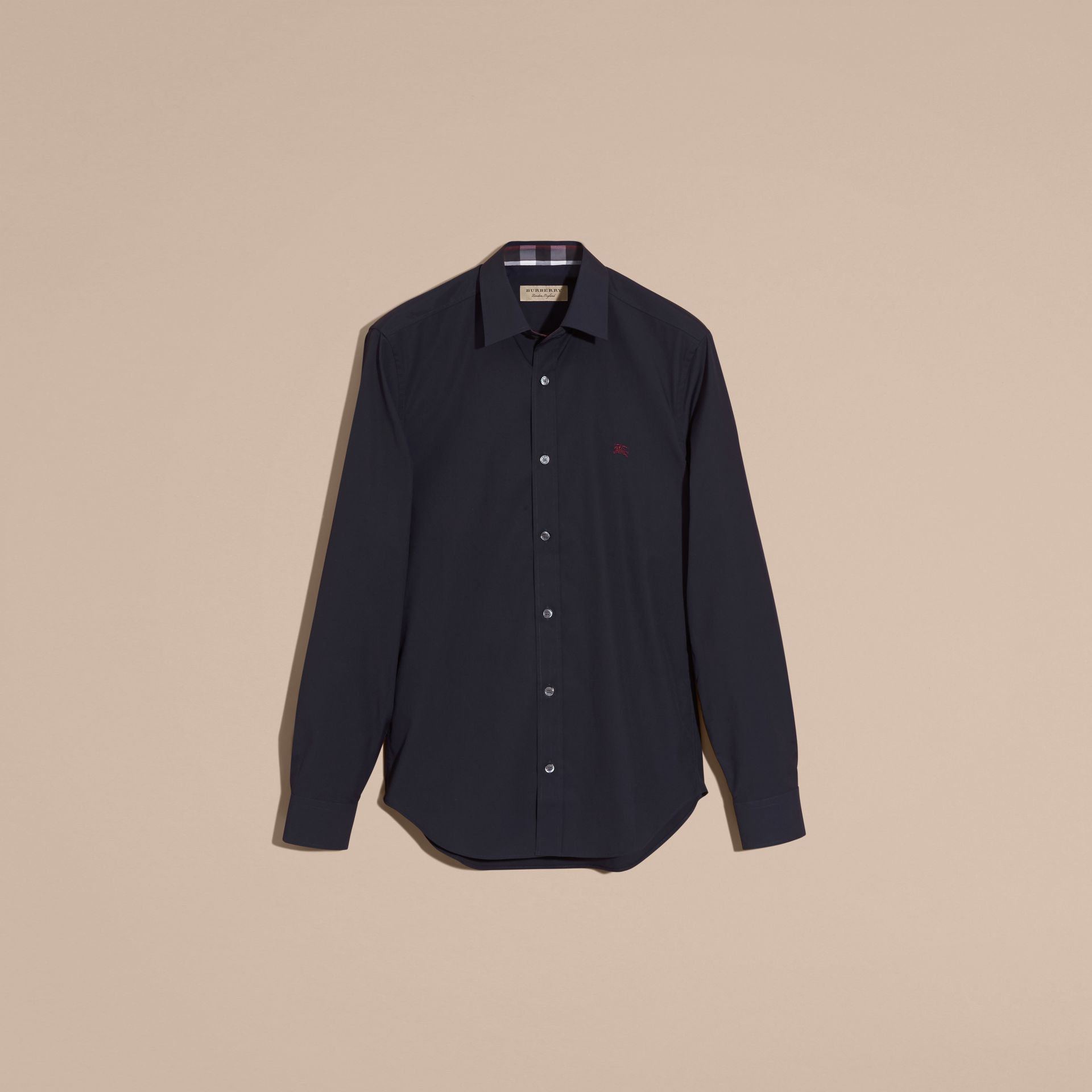Check Detail Stretch Cotton Shirt Navy - gallery image 4